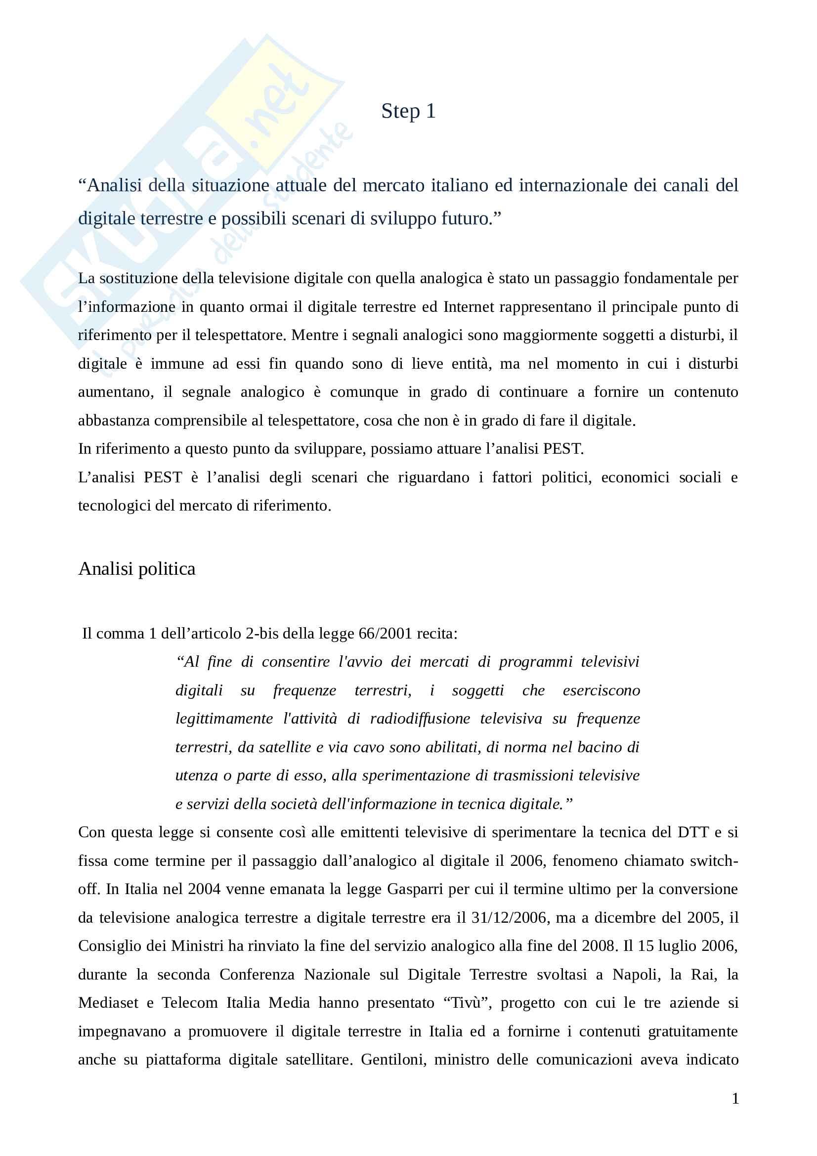 Analisi della situazione attuale del mercato italiano ed internazionale dei canali del digitale terrestre e possibili scenari di sviluppo futuro