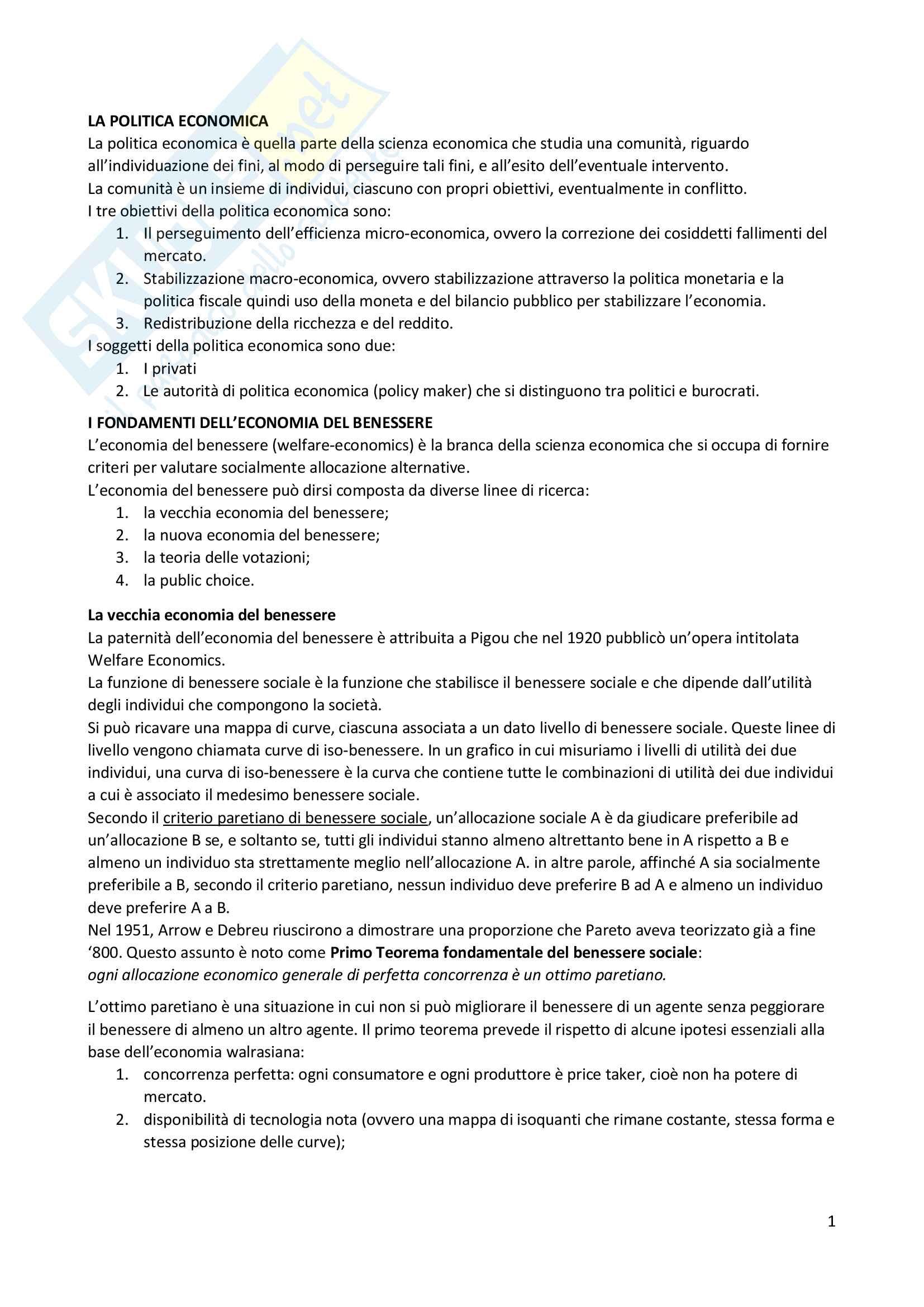 Riassunto esame Politica economica (Prima parte), Prof. Colombatto