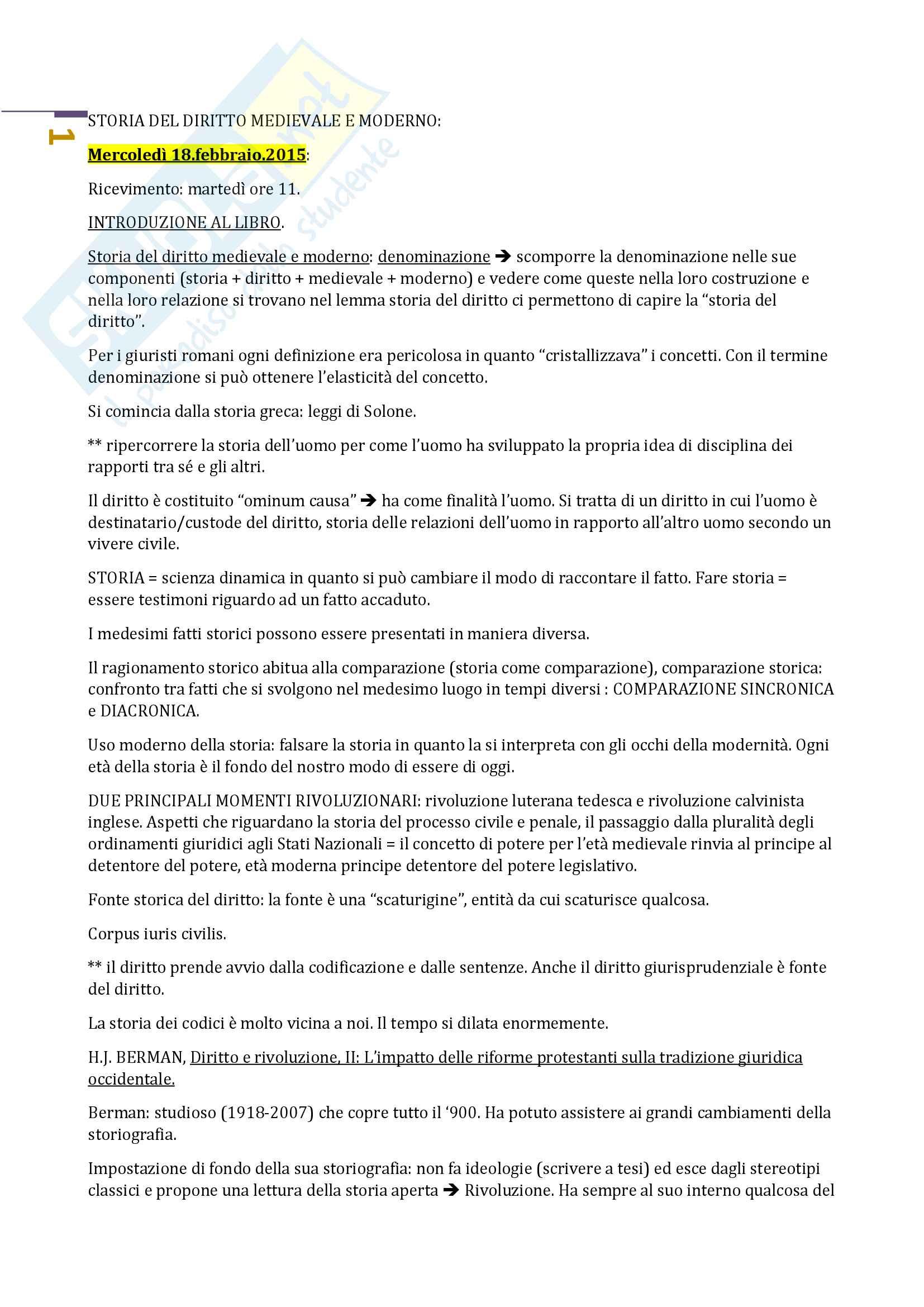 Storia del diritto medievale e moderno 1 Prof.ssa Natalini (Unitn).