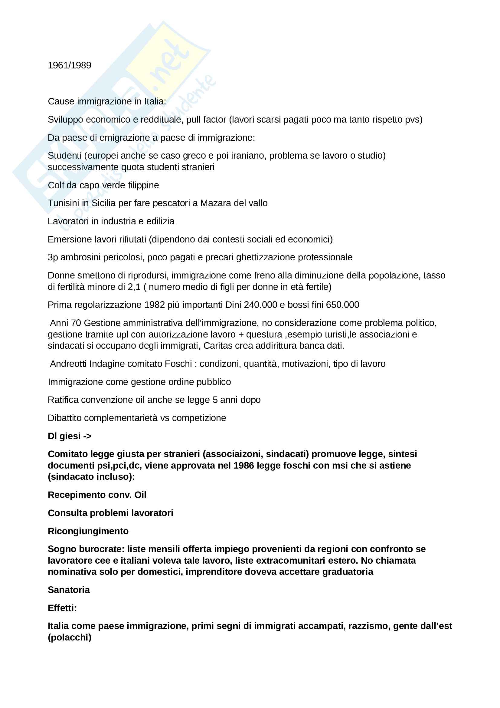Riassunto esame Analisi delle politiche pubbliche, Prof. Basili, libro consigliato Le politiche dell'immigrazione in italia dall'unità a oggi, Einaudi Pag. 1