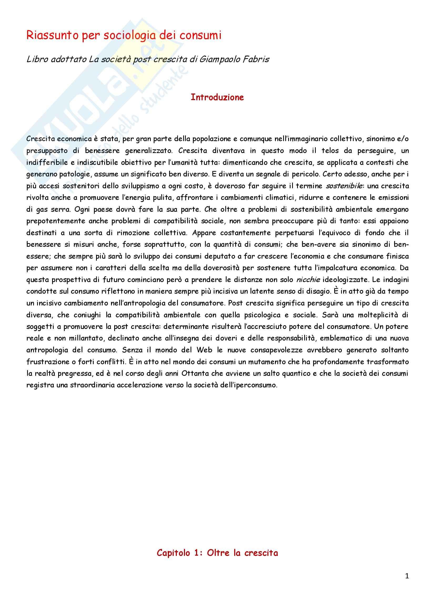 La società post-crescita, Giampaolo Fabris, Riassunto esame, prof. Martinengo
