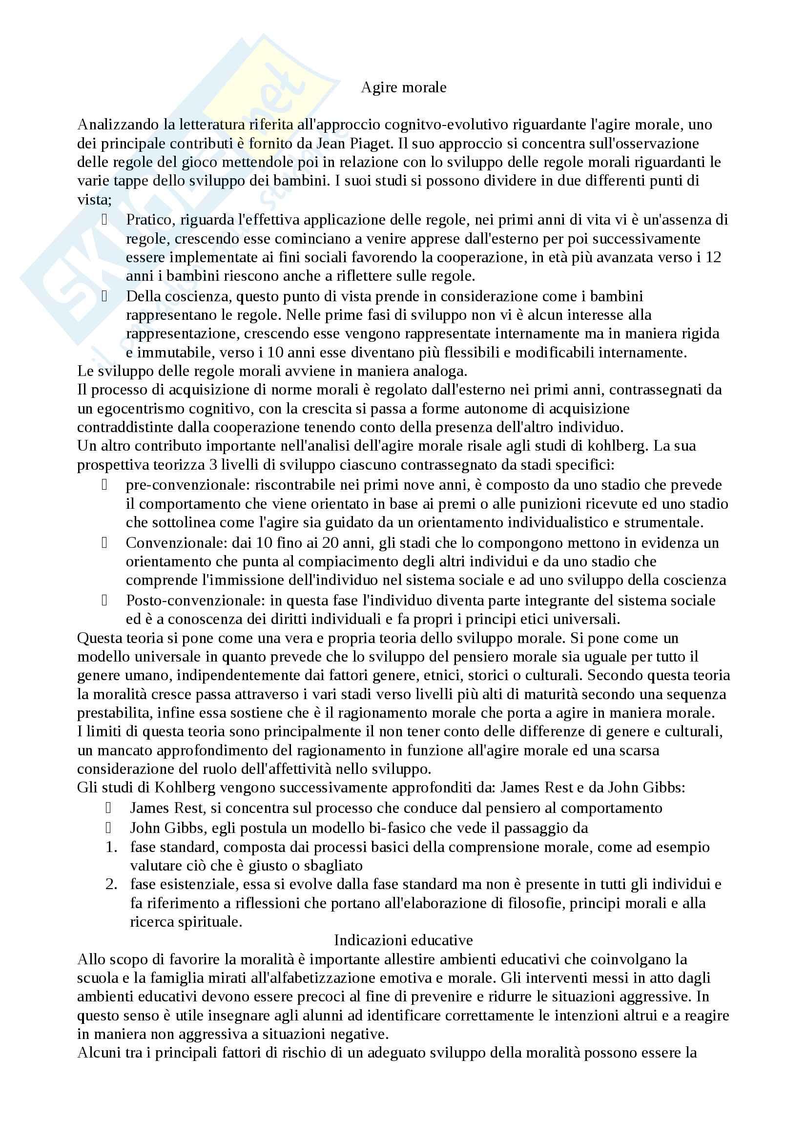 Appunti psicologia dell'educazione e dell'orientamento moduli frequentanti, Docente Maria Assunta Zanetti