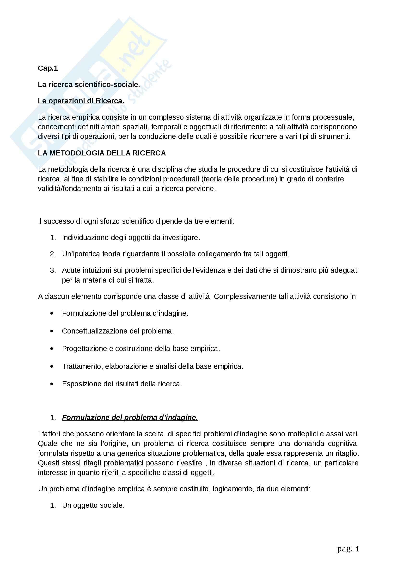 Riassunto esame Metodologia della ricerca sociale, prof. Fasanella, libro consigliato Il Disegno della Ricerca Sociale, Agnoli