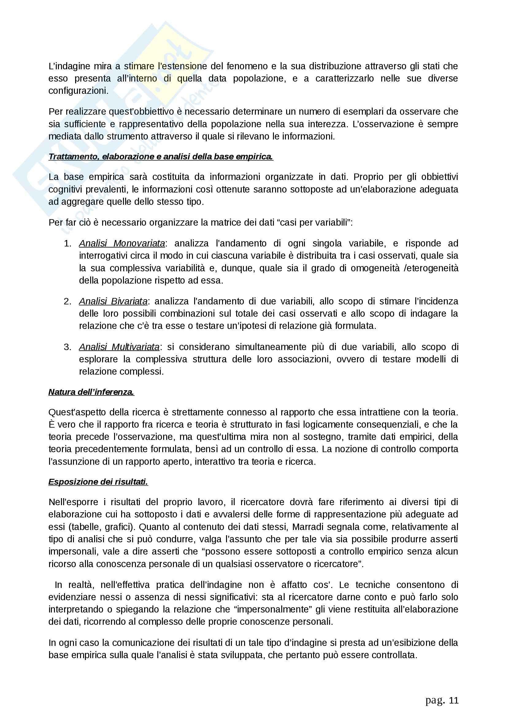 Riassunto esame Metodologia della ricerca sociale, prof. Fasanella, libro consigliato Il Disegno della Ricerca Sociale, Agnoli Pag. 11