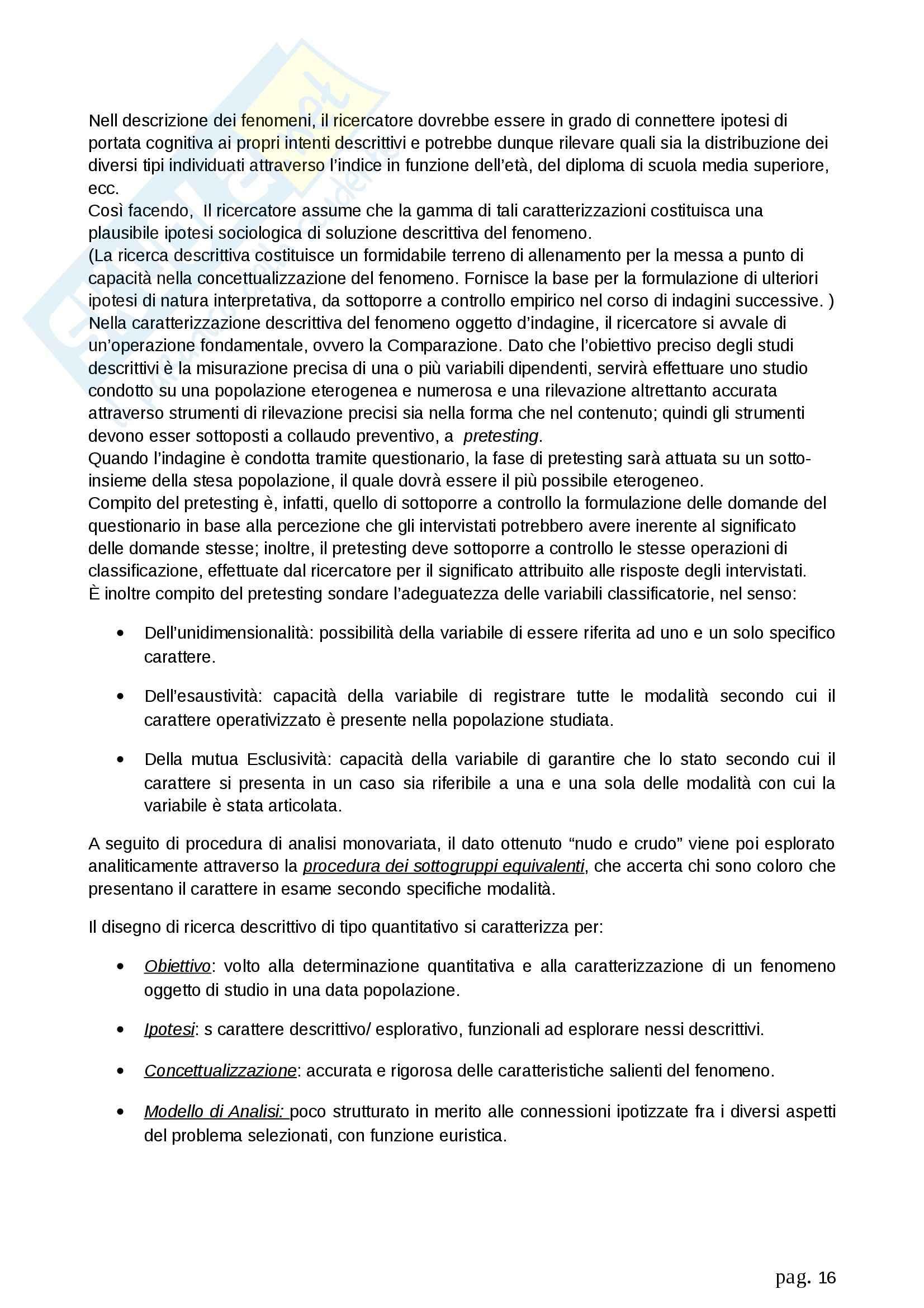 Riassunto esame Metodologia della ricerca sociale, prof. Fasanella, libro consigliato Il Disegno della Ricerca Sociale, Agnoli Pag. 16