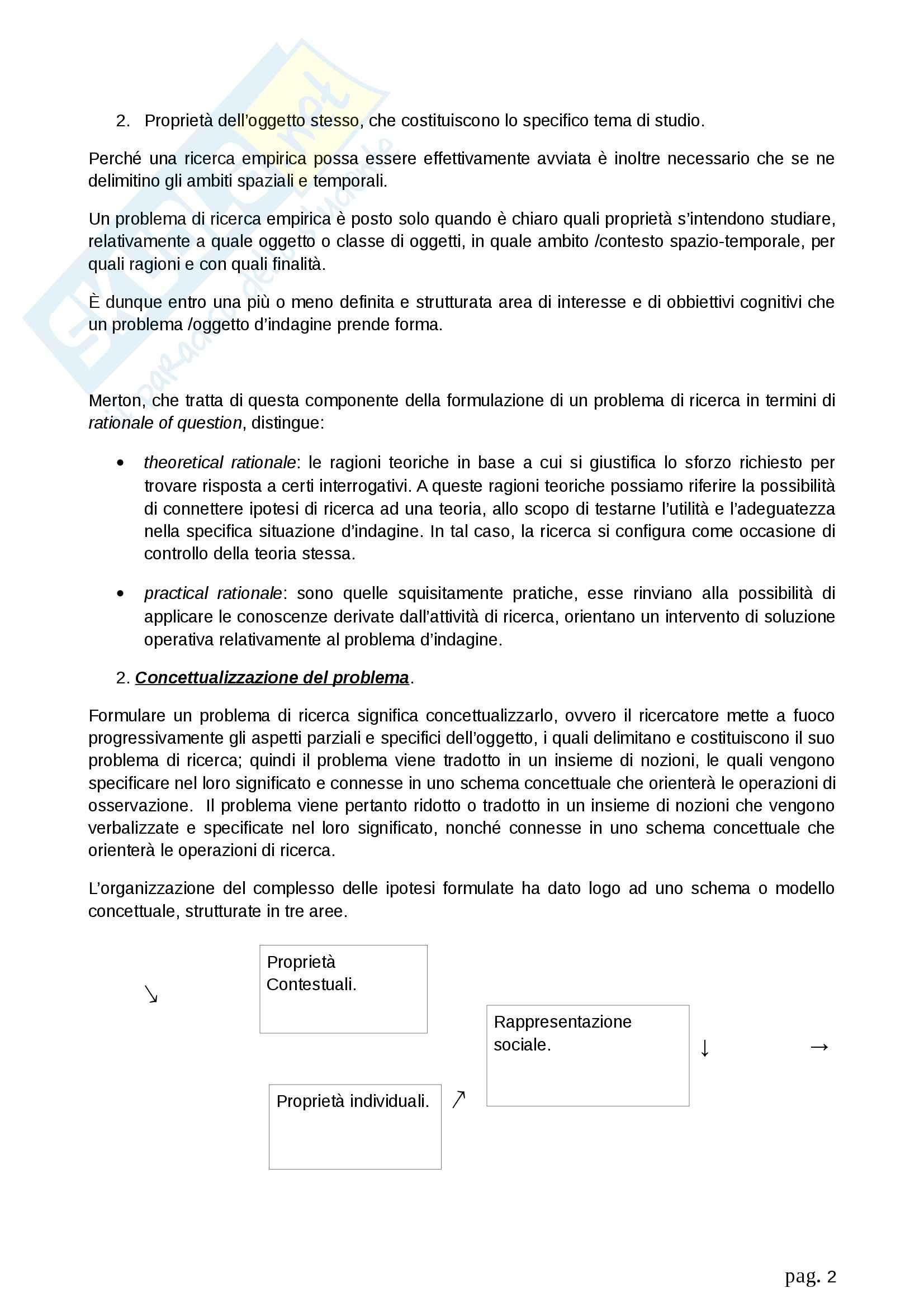 Riassunto esame Metodologia della ricerca sociale, prof. Fasanella, libro consigliato Il Disegno della Ricerca Sociale, Agnoli Pag. 2