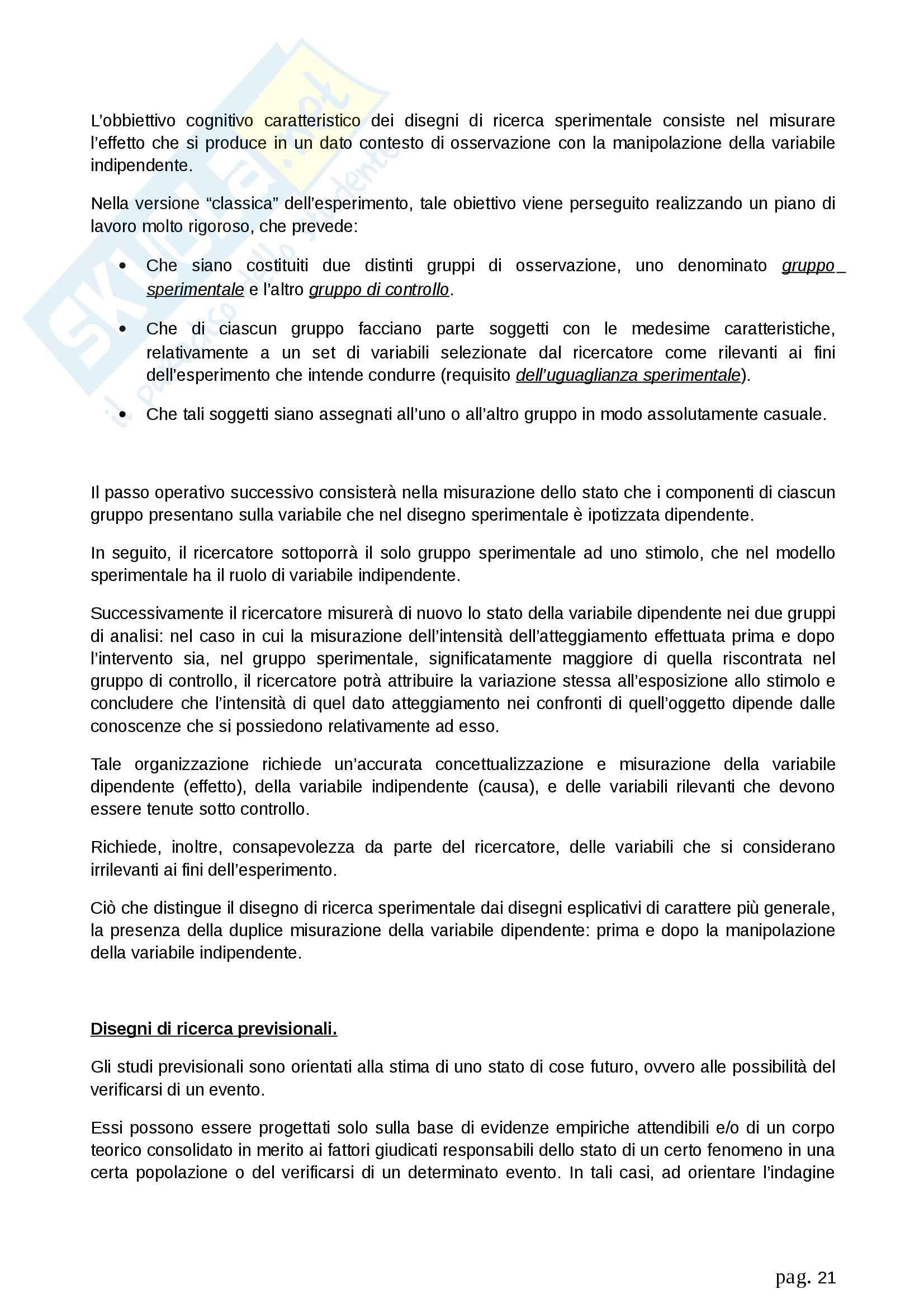 Riassunto esame Metodologia della ricerca sociale, prof. Fasanella, libro consigliato Il Disegno della Ricerca Sociale, Agnoli Pag. 21