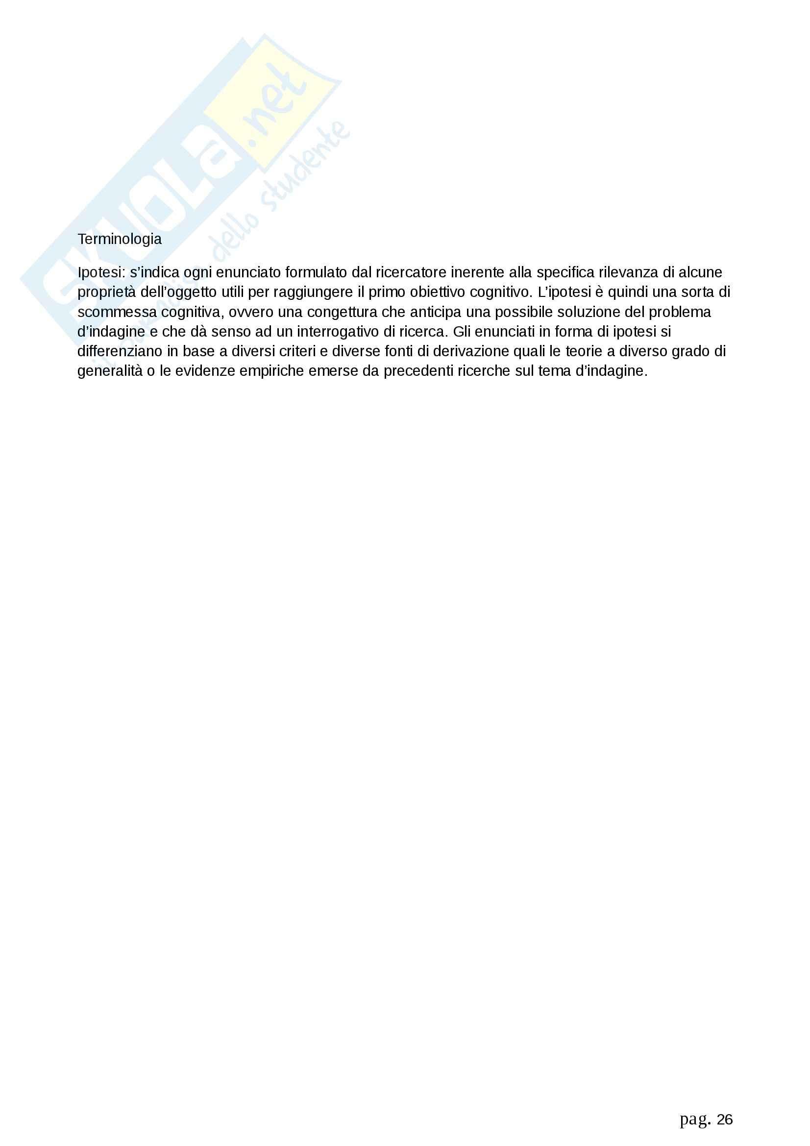 Riassunto esame Metodologia della ricerca sociale, prof. Fasanella, libro consigliato Il Disegno della Ricerca Sociale, Agnoli Pag. 26