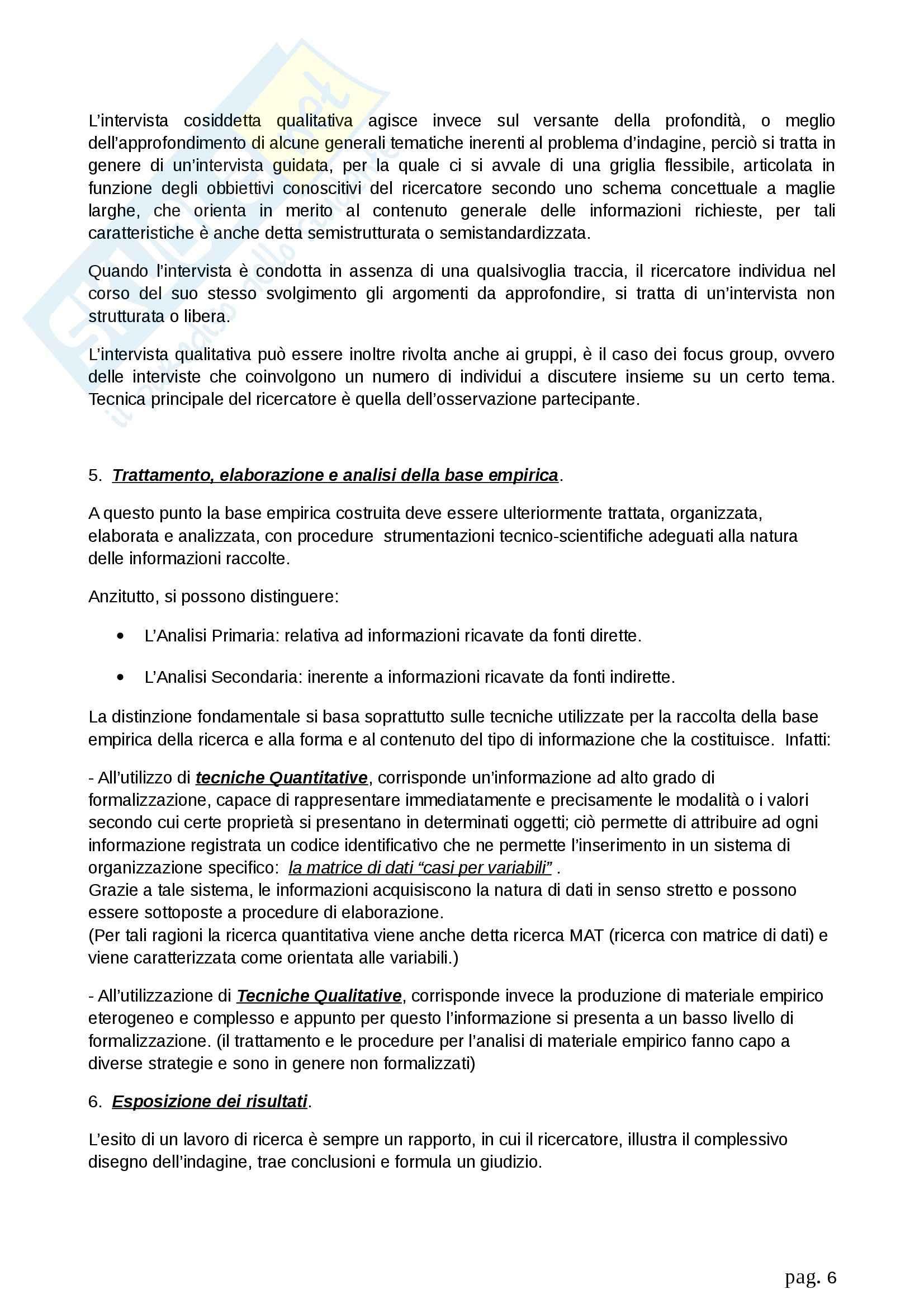 Riassunto esame Metodologia della ricerca sociale, prof. Fasanella, libro consigliato Il Disegno della Ricerca Sociale, Agnoli Pag. 6