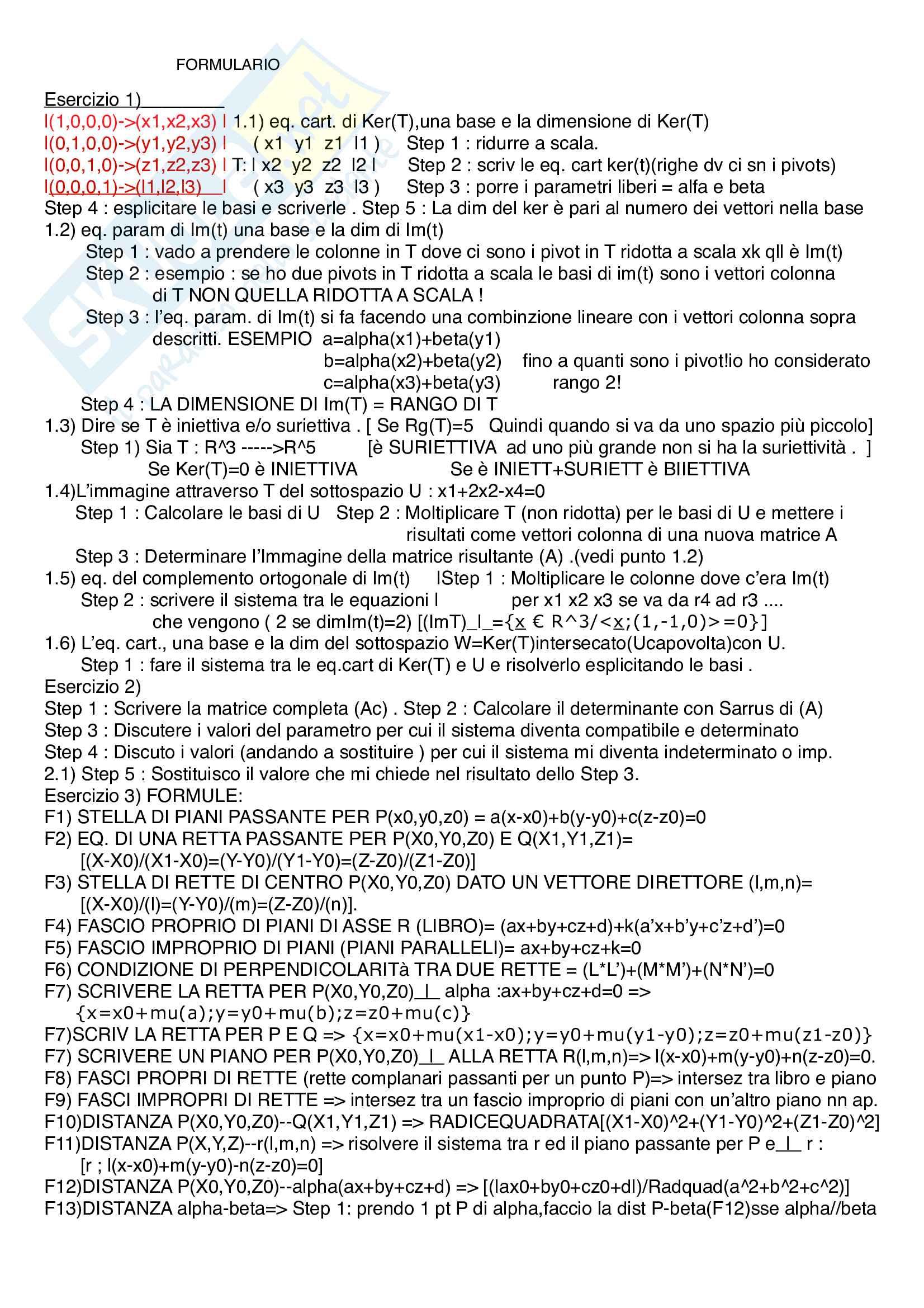 Formulario Algebra lineare e geometria