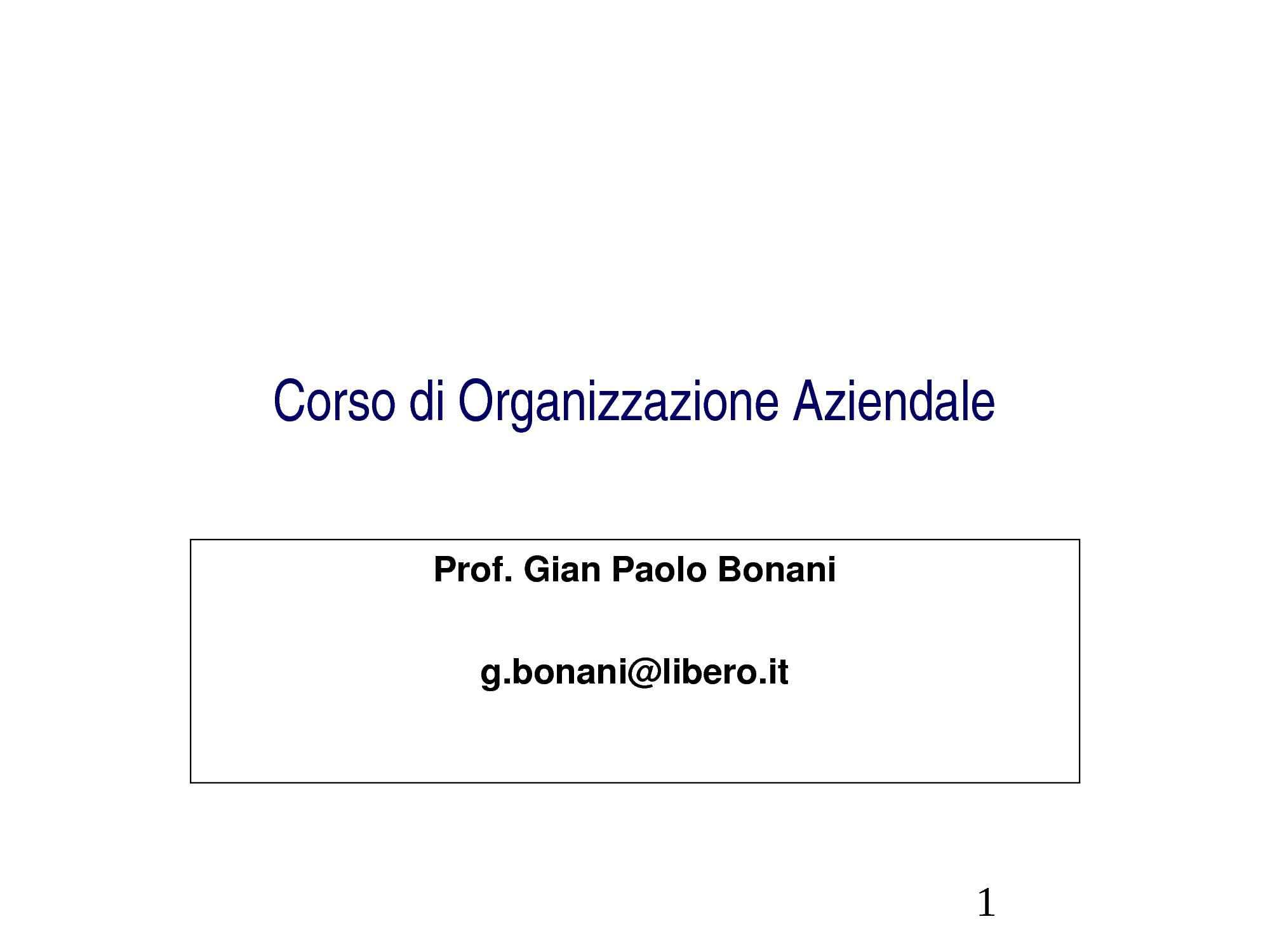 Organizzazione - Idea e struttura