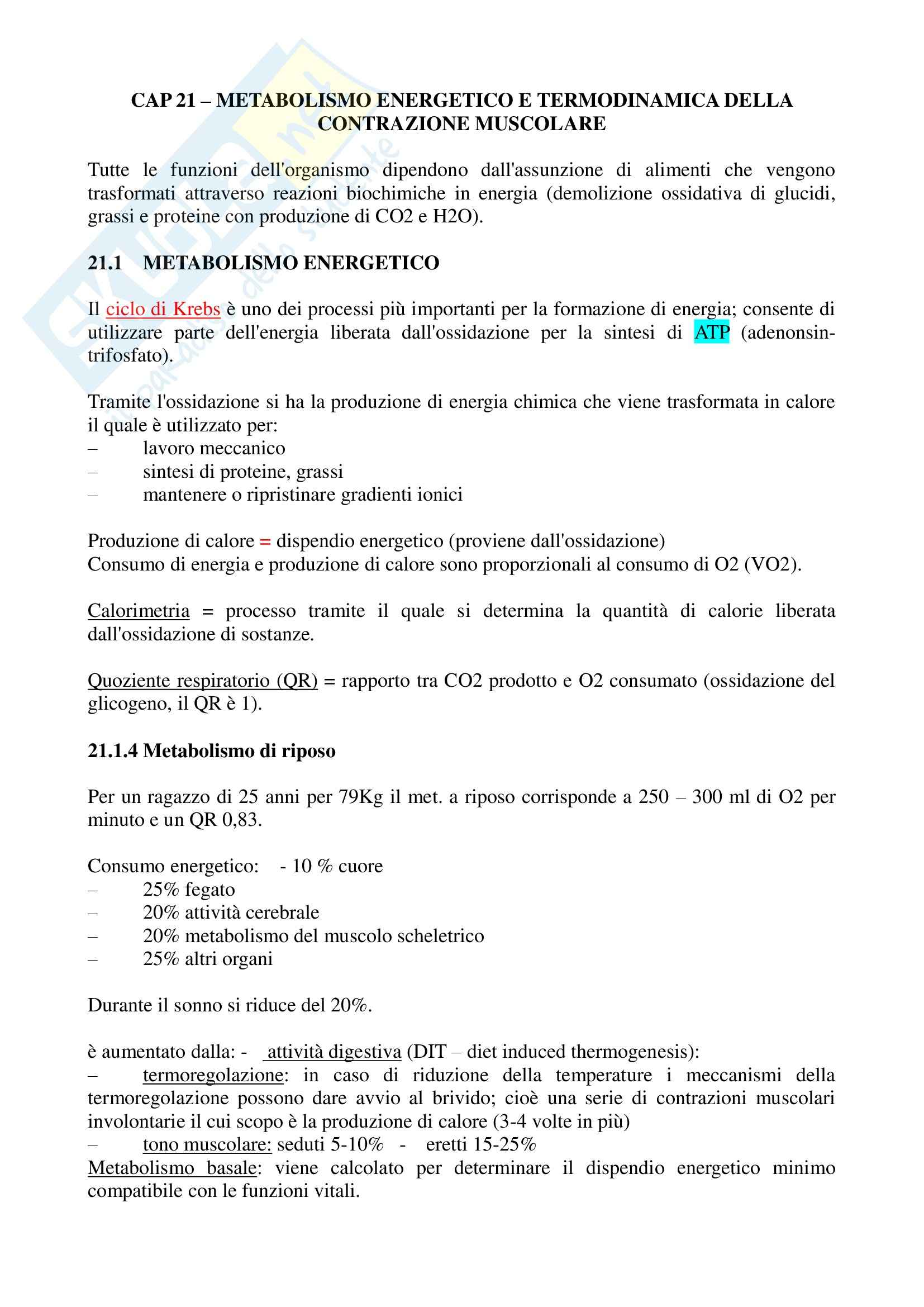 Riassunto esame Fisiologia Generale, prof. Veicsteinas, libro consigliato Fisiologia dell'Uomo - cap. 21