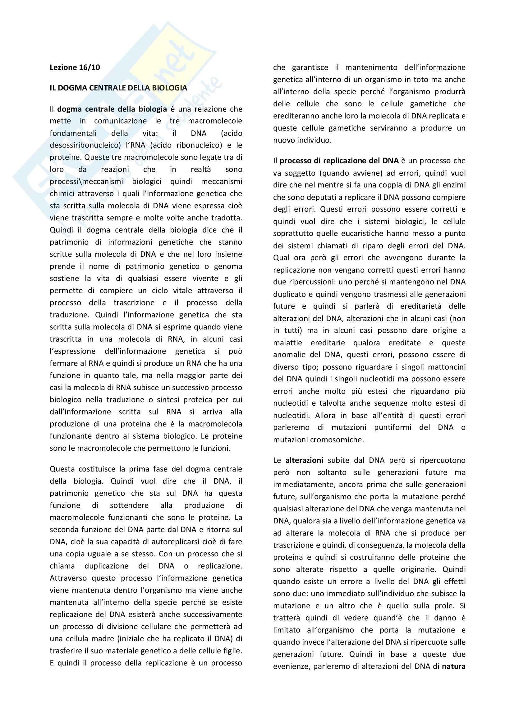Biologia cellulare - il dogma centrale della biologia e la struttura del DNA