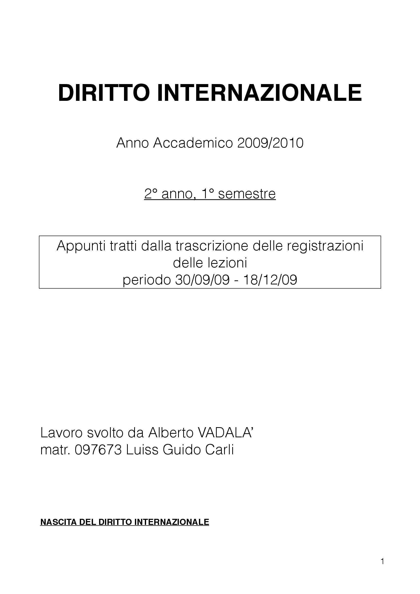 Diritto Internazionale - Appunti
