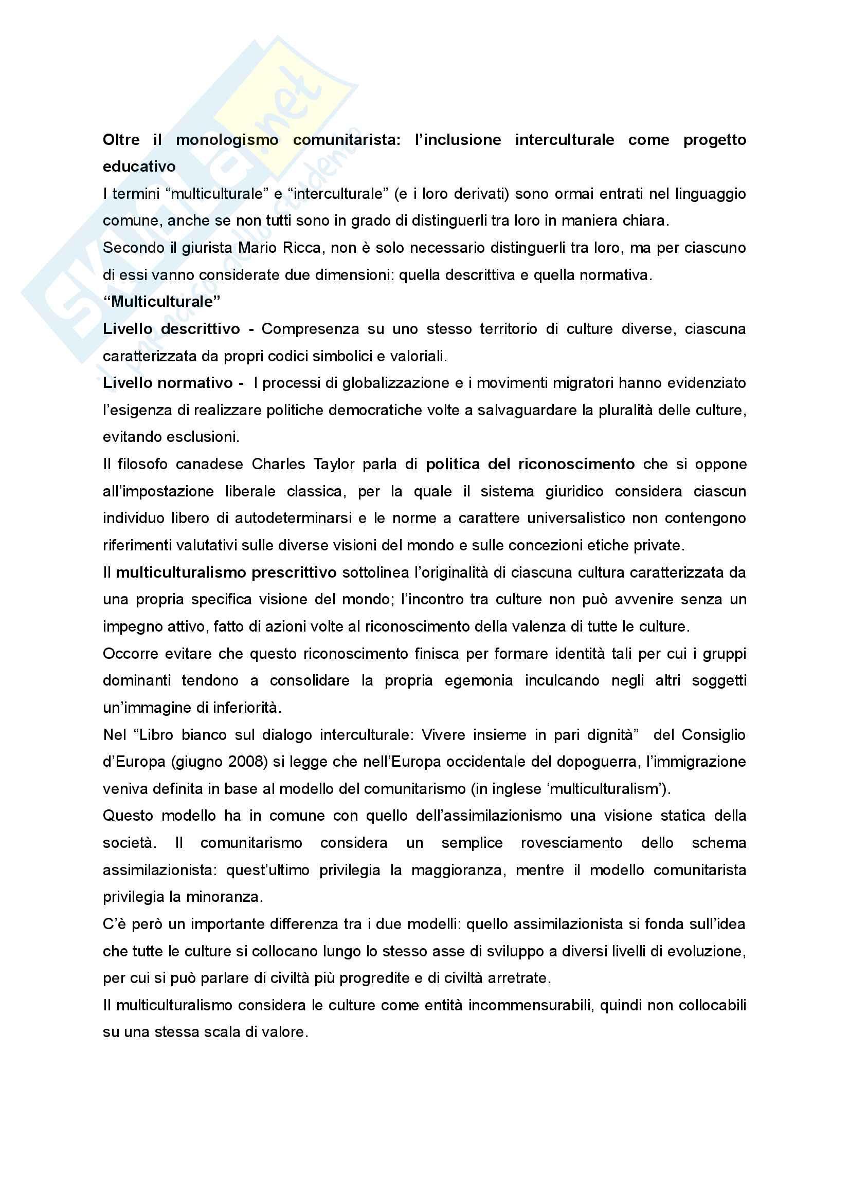 """Sunto di Didattica e Pedagogia dell'inclusione, prof.ssa Cristina Palmieri, libro consigliato """"Pratiche educative per l'inclusione sociale"""" a cura di Maura Striano Pag. 16"""