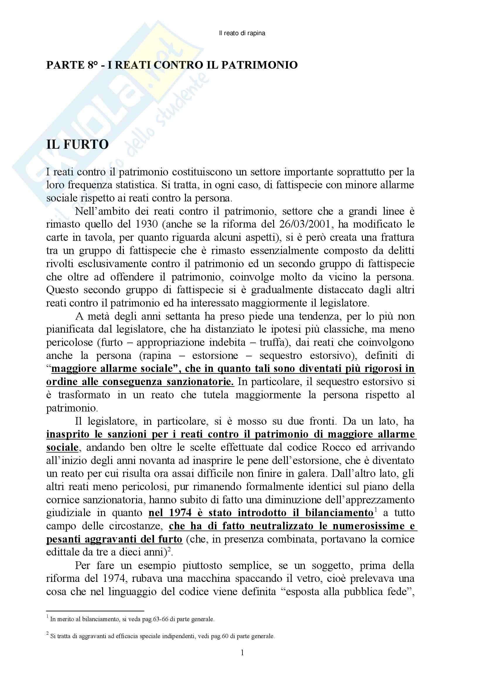 Diritto penale - reati contro il patrimonio - Appunti