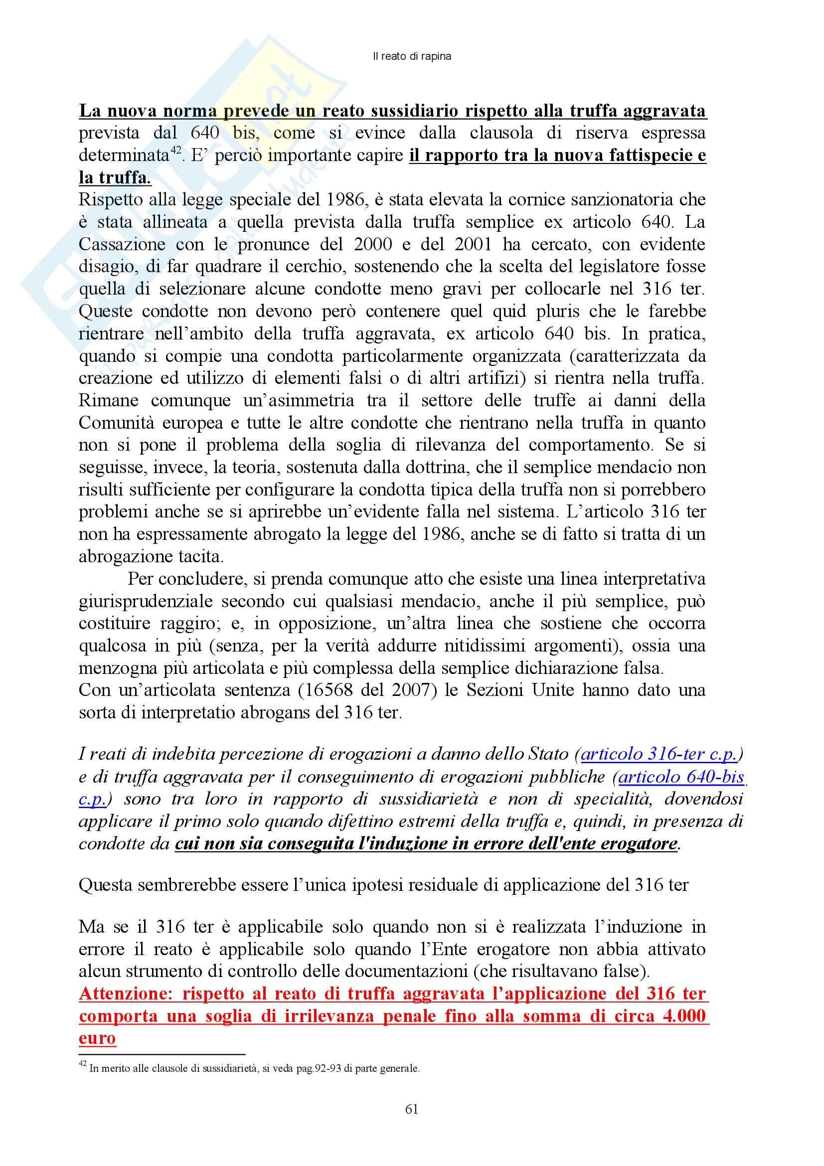 Diritto penale - reati contro il patrimonio - Appunti Pag. 61