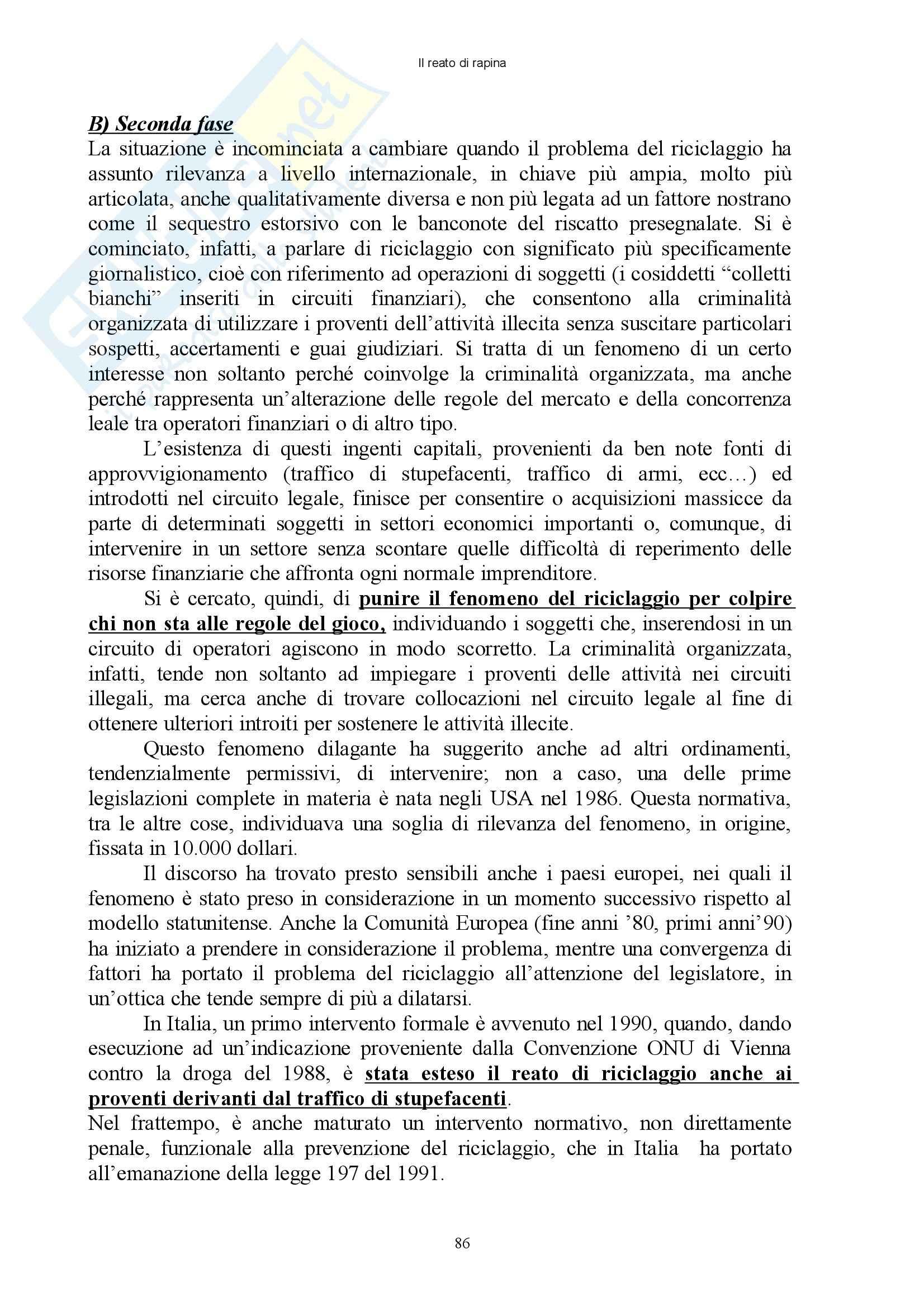 Diritto penale - reati contro il patrimonio - Appunti Pag. 86