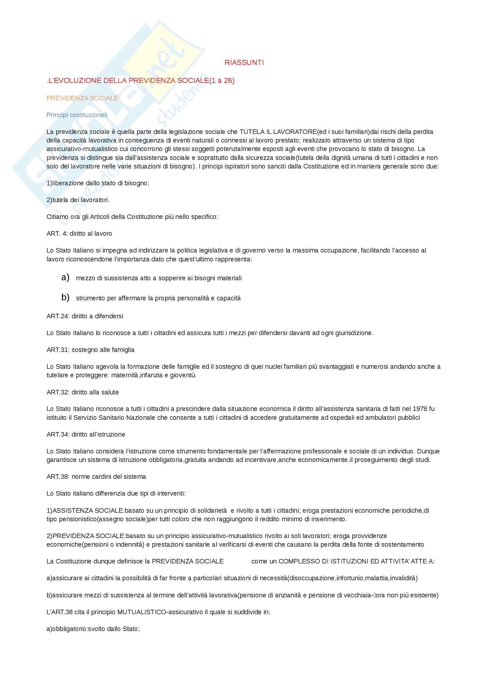 Riassunto esame Diritto del lavoro, prof. Bettini, libro consigliato La previdenza sociale e la Contribuzione