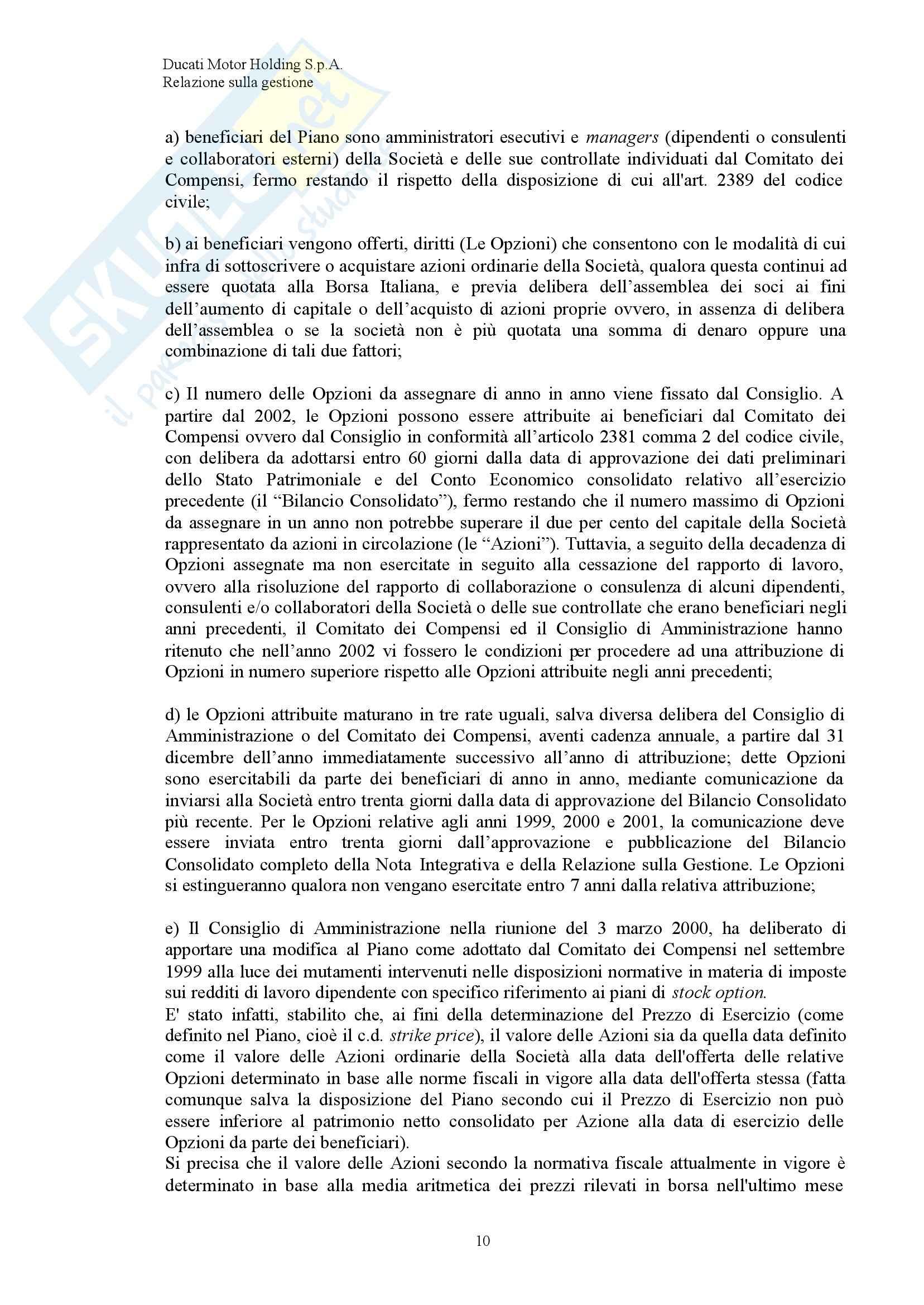 Economia ed organizzazione Aziendale - Bilancio Ducati Pag. 11