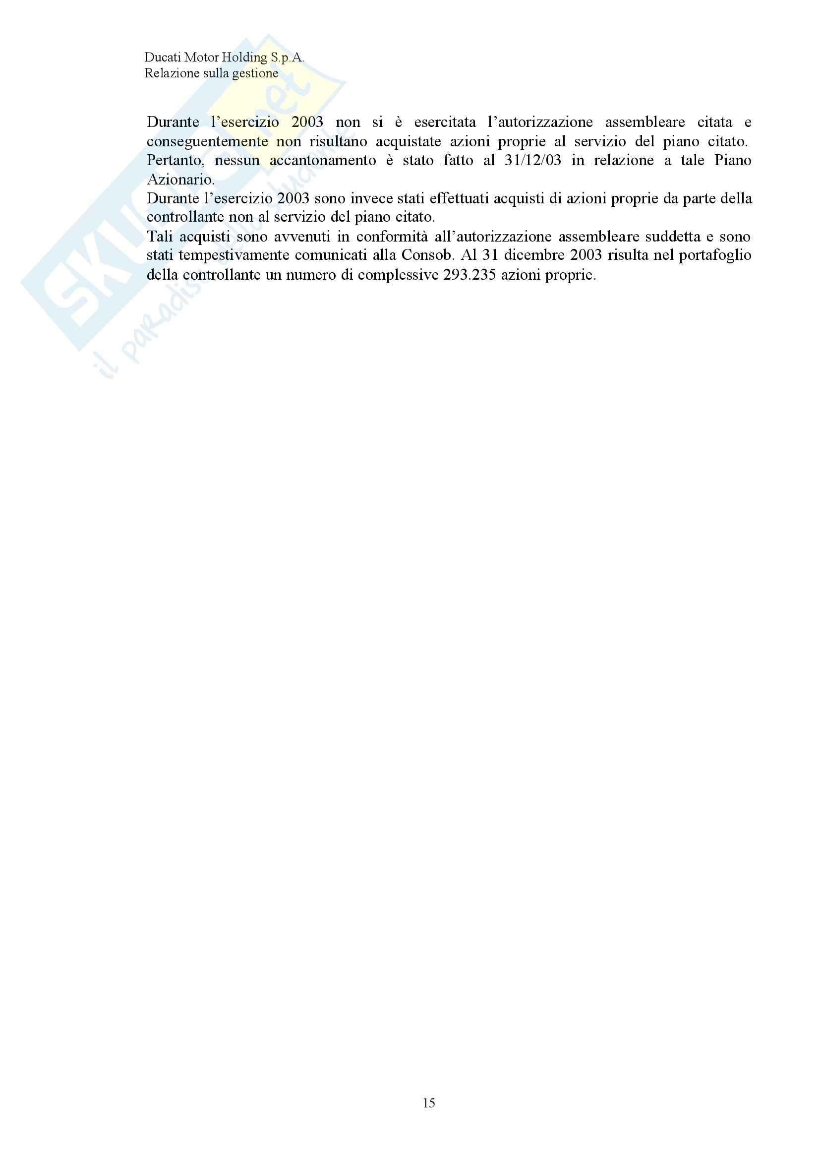 Economia ed organizzazione Aziendale - Bilancio Ducati Pag. 16