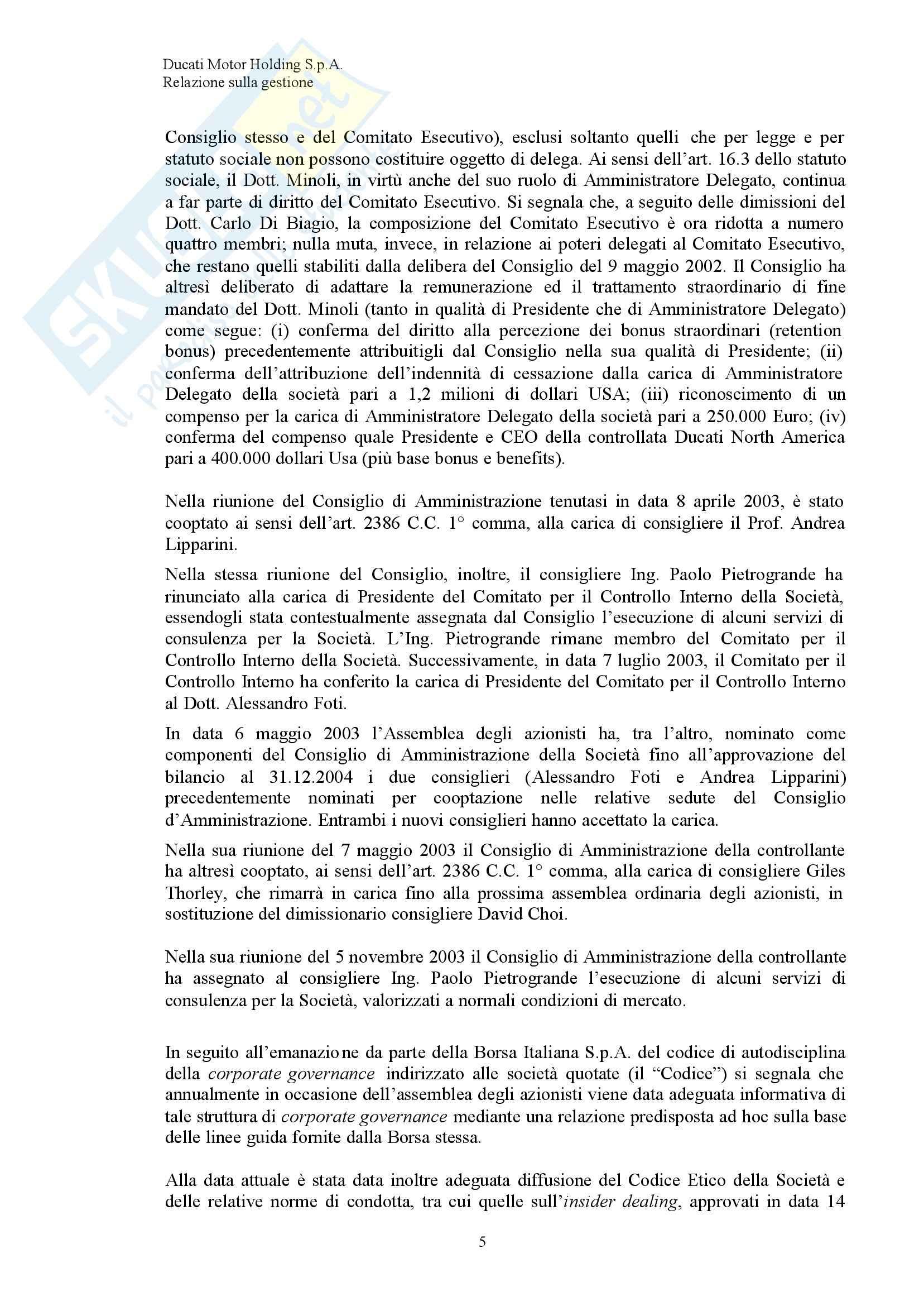 Economia ed organizzazione Aziendale - Bilancio Ducati Pag. 6