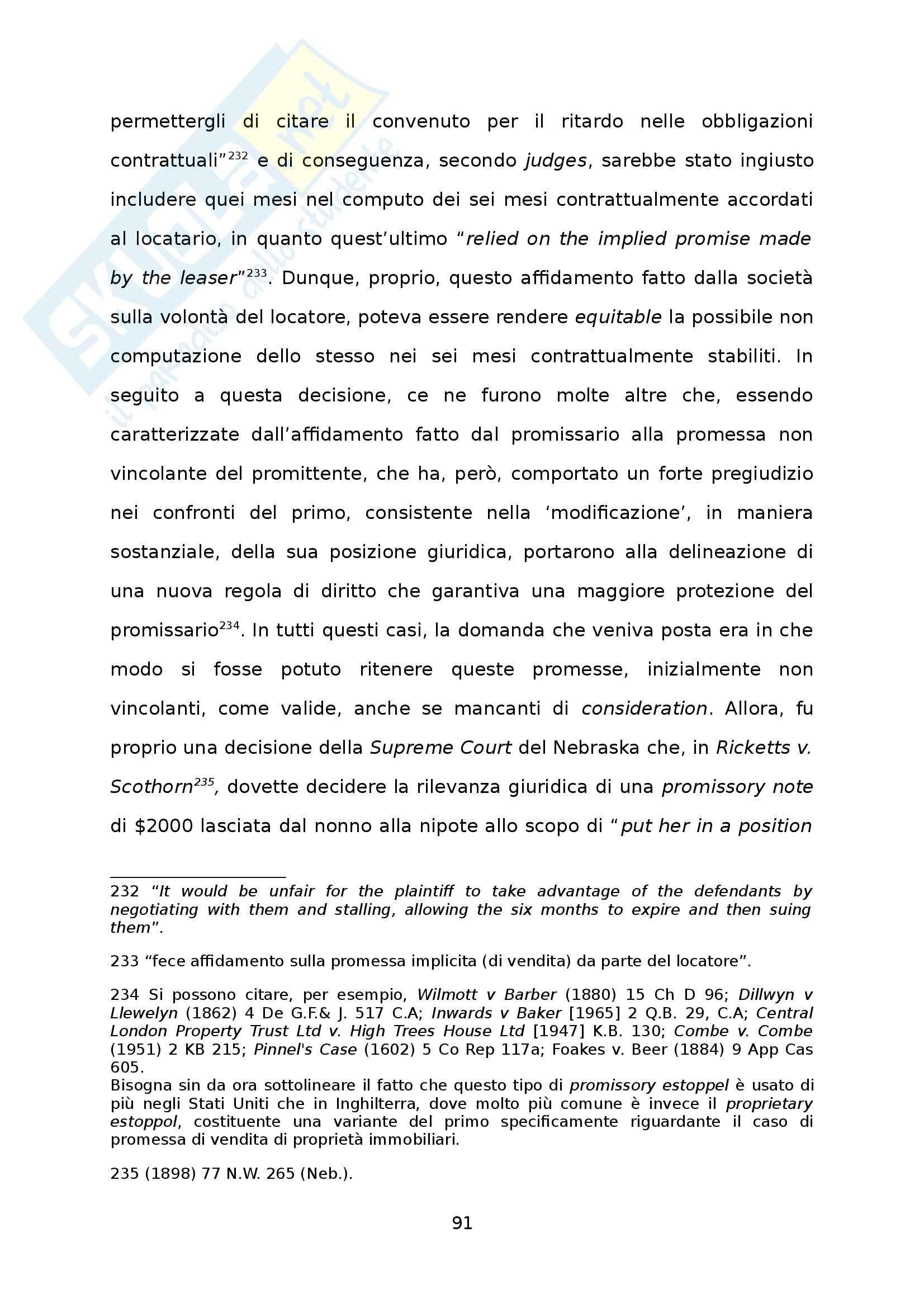 Causa, Consideration e loro influenza nel diritto privato europeo - Tesi Pag. 91