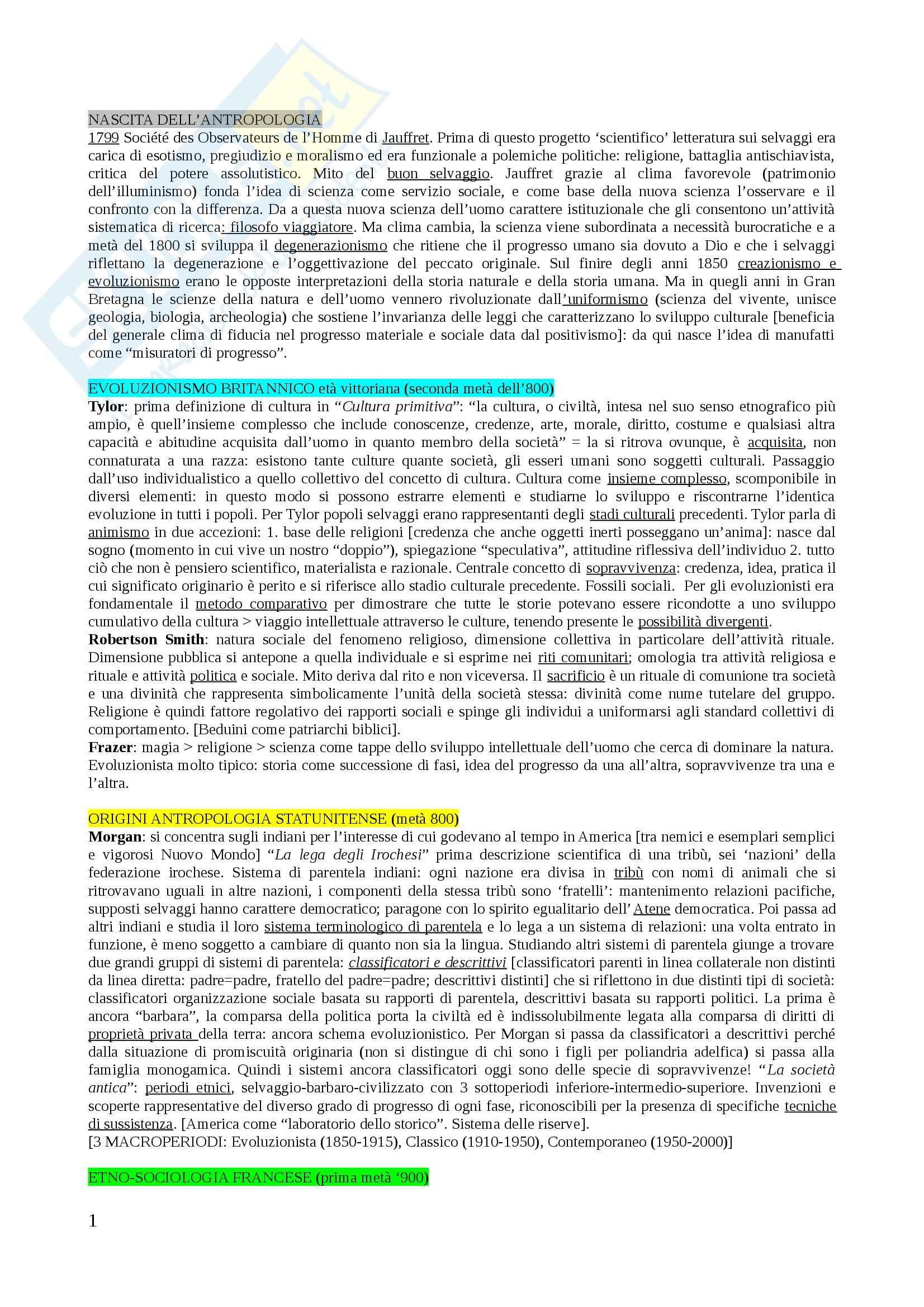 Riassunto esame Antropologia Culturale, prof. Ciabarri, libro consigliato Storia dell'Antropologia, Fabietti