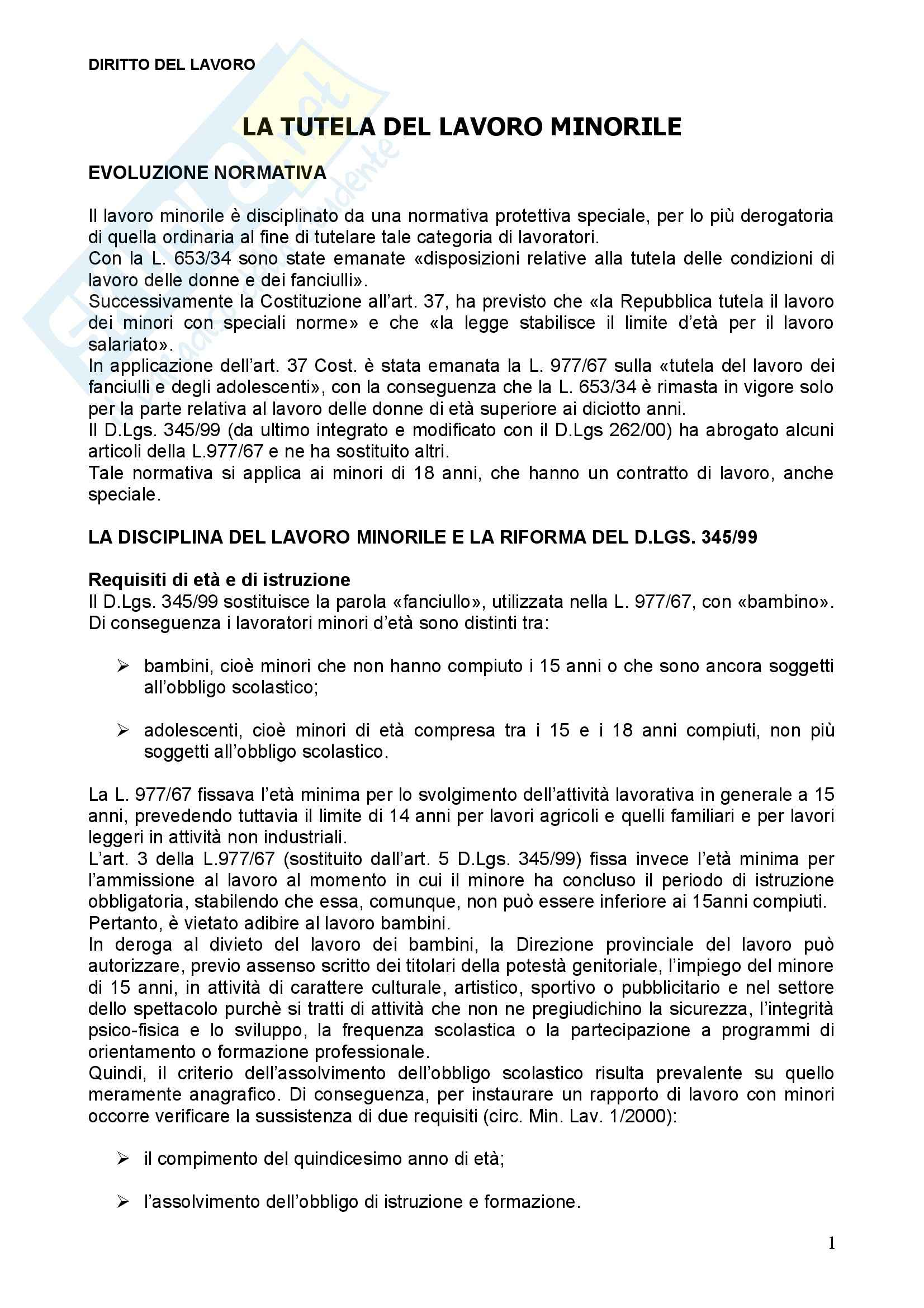 Diritto del lavoro - tutela del lavoro minorile