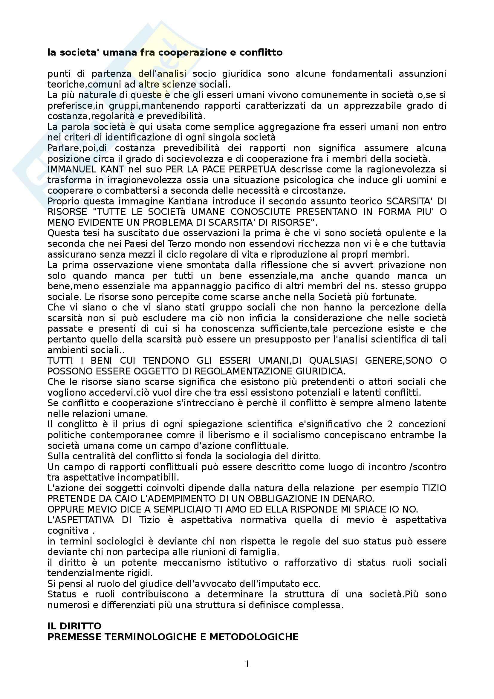 Riassunto esame Sociologia del diritto, prof. Pannarale, libro consigliato Prima lezione di sociologia del diritto, Ferrari