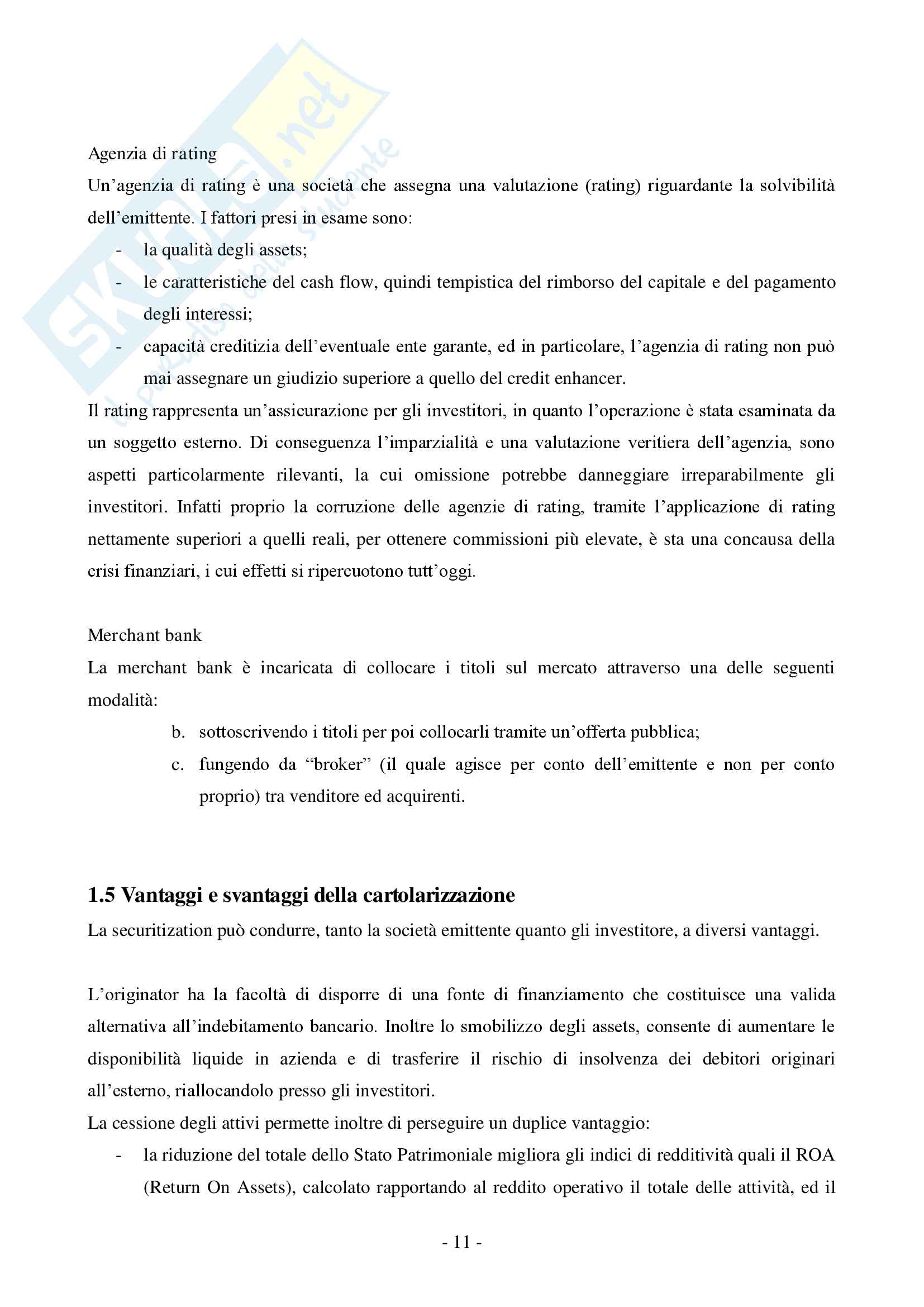La cartolarizzazione dei crediti Pag. 11