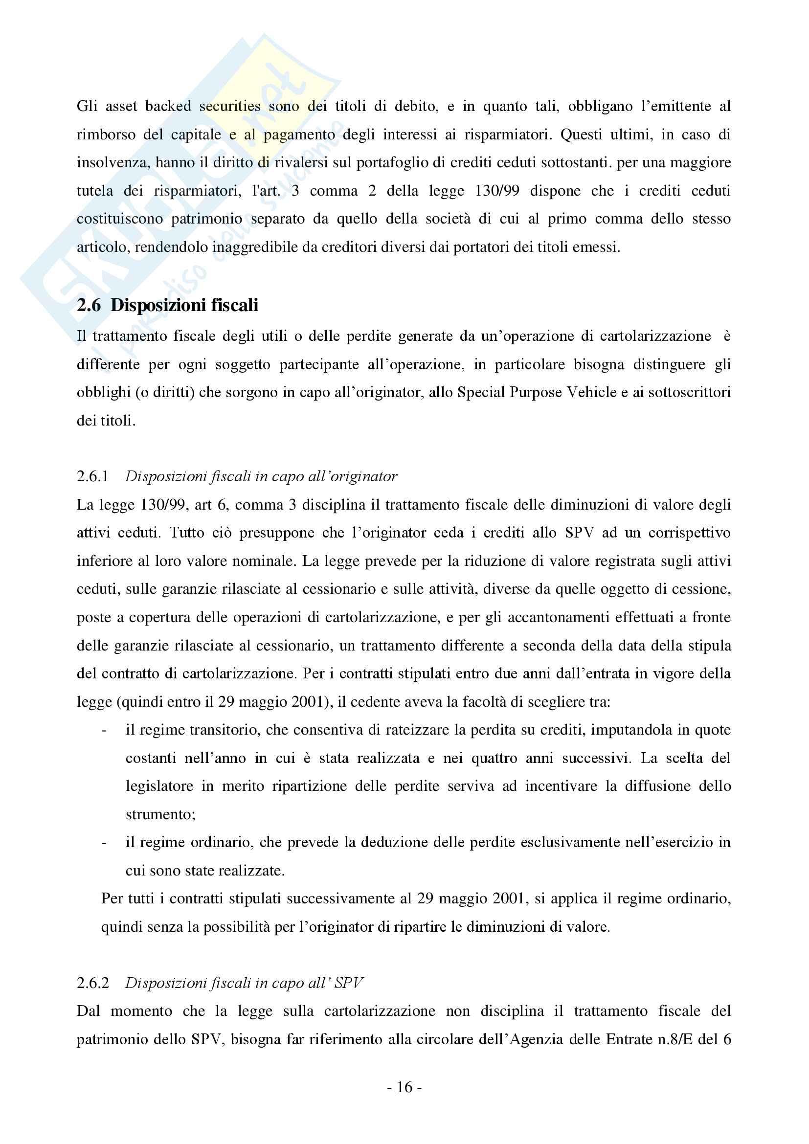 La cartolarizzazione dei crediti Pag. 16