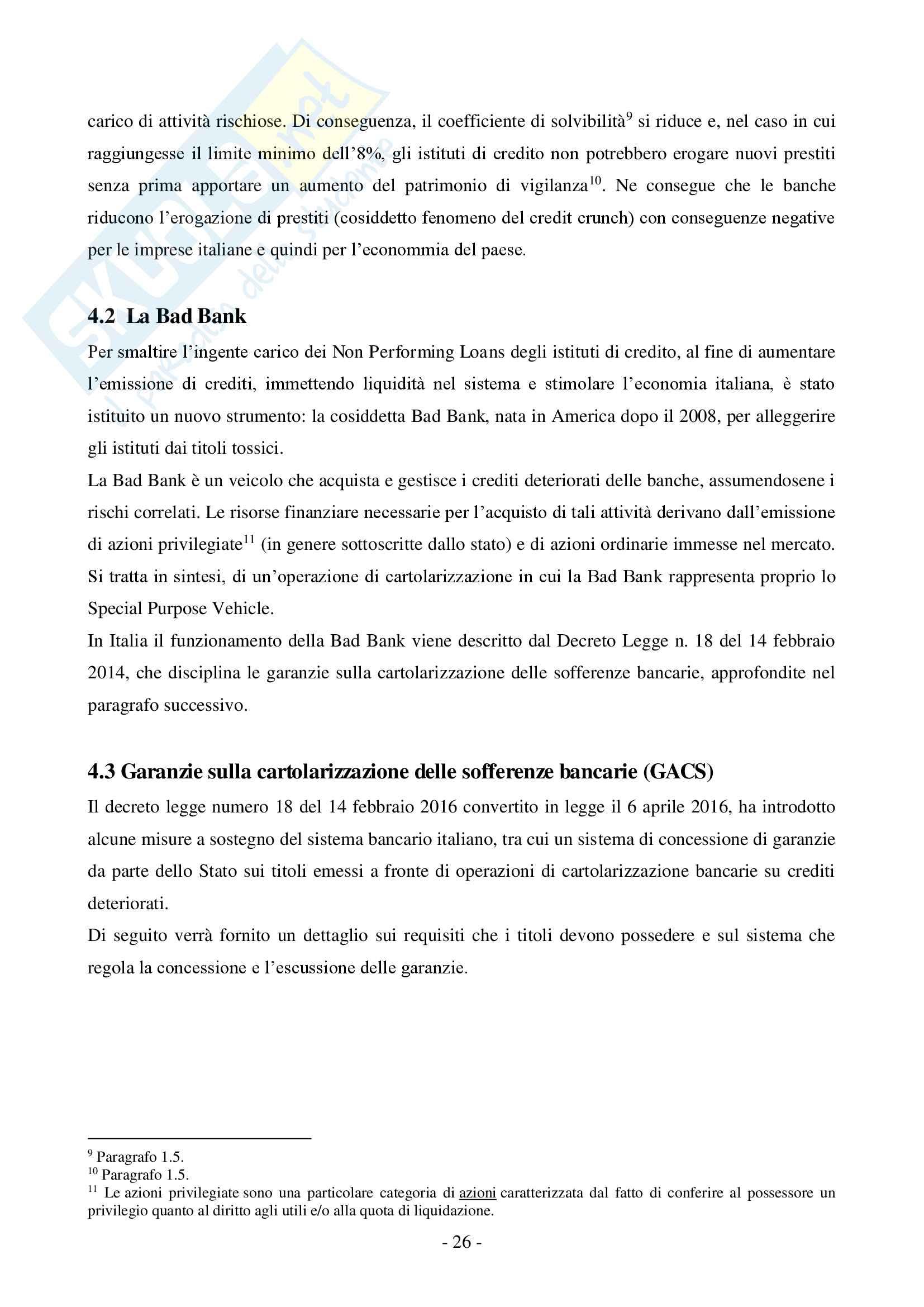 La cartolarizzazione dei crediti Pag. 26