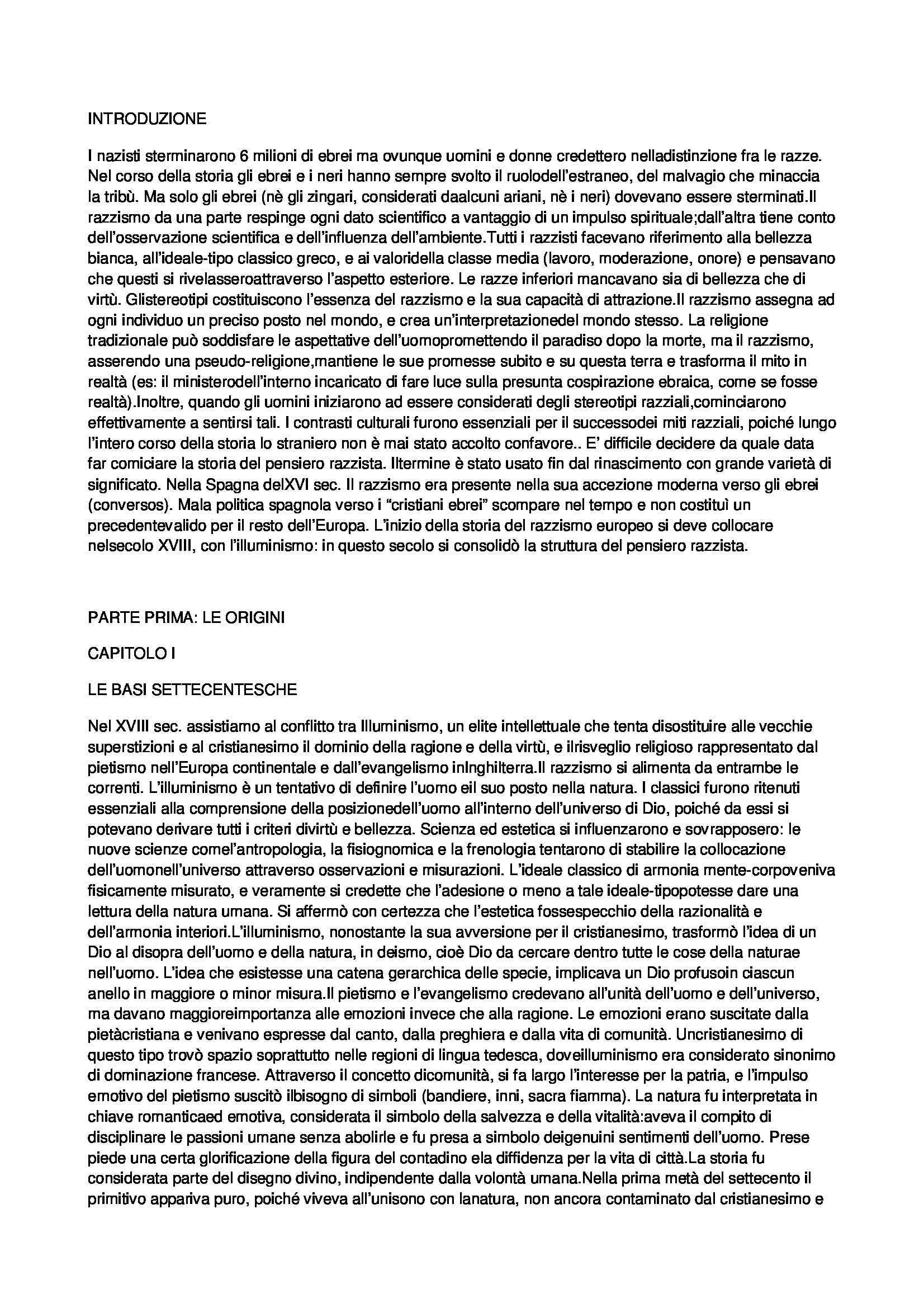 Riassunto esame Storia Contemporanea, prof. Moro, libro consigliato Il Razzismo in Europa dalle Origini all'Olocausto, Mosse
