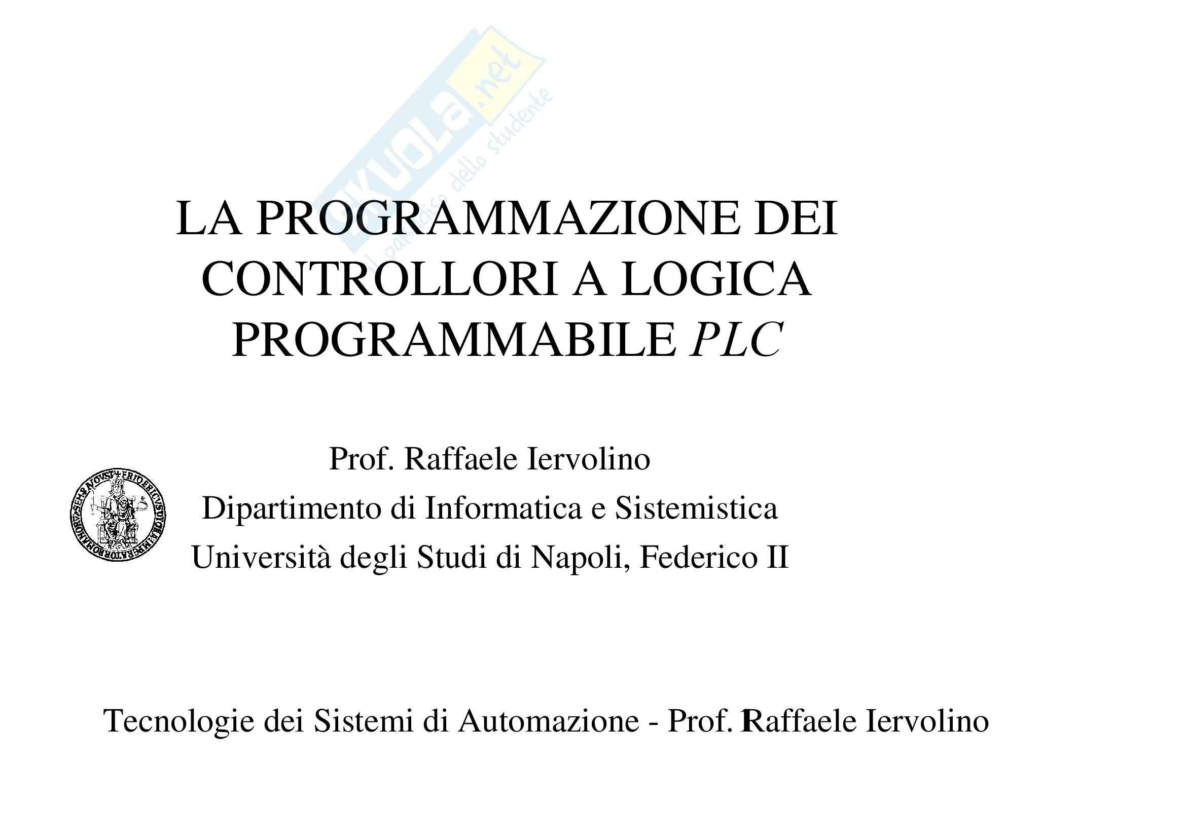 Tecnologie Sistemi Automazione e Controllo – PLC