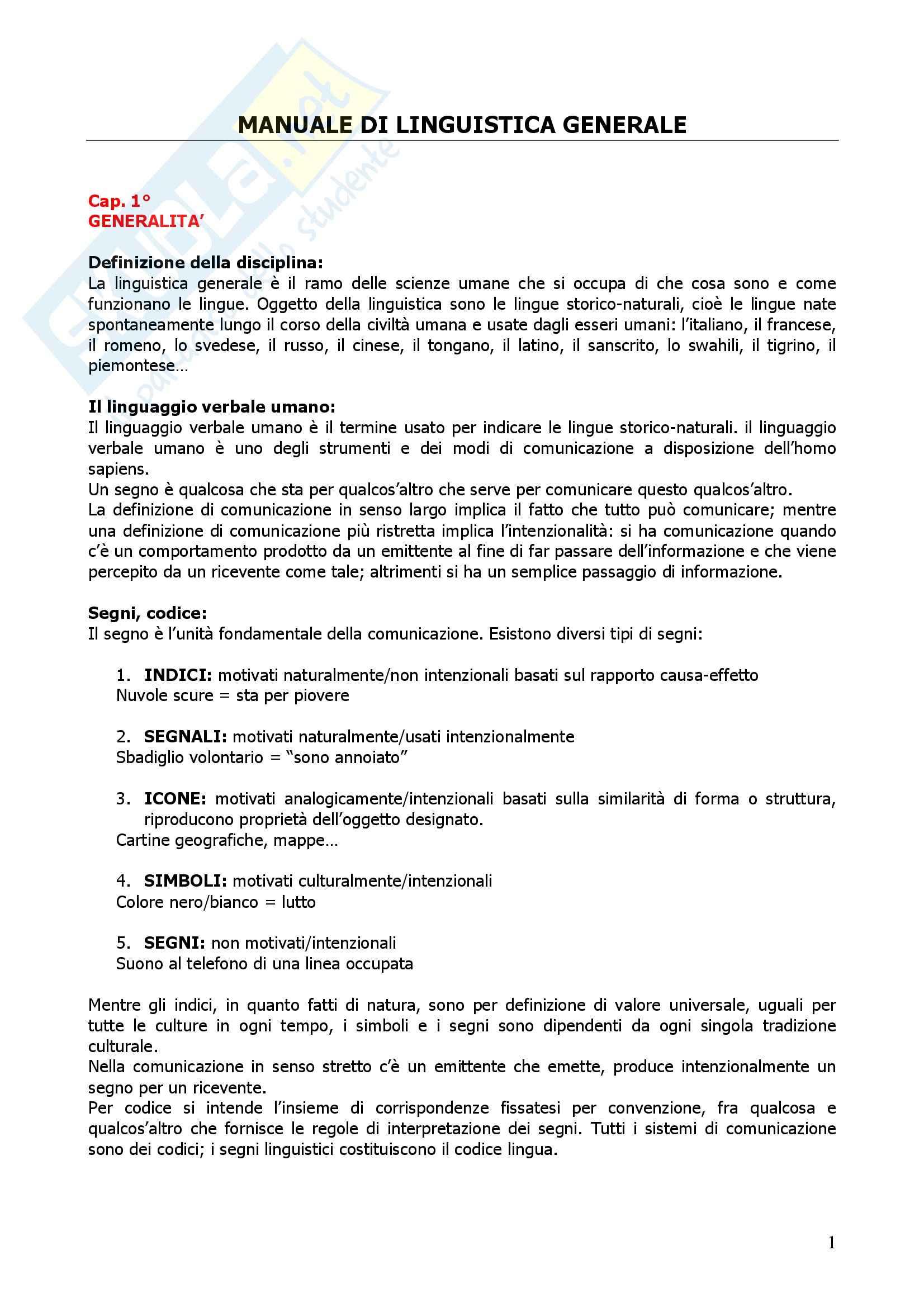 Riassunto esame Linguistica Italiana, prof. Facchetti, libro consigliato Manuale di Linguistica Generale, Berruto