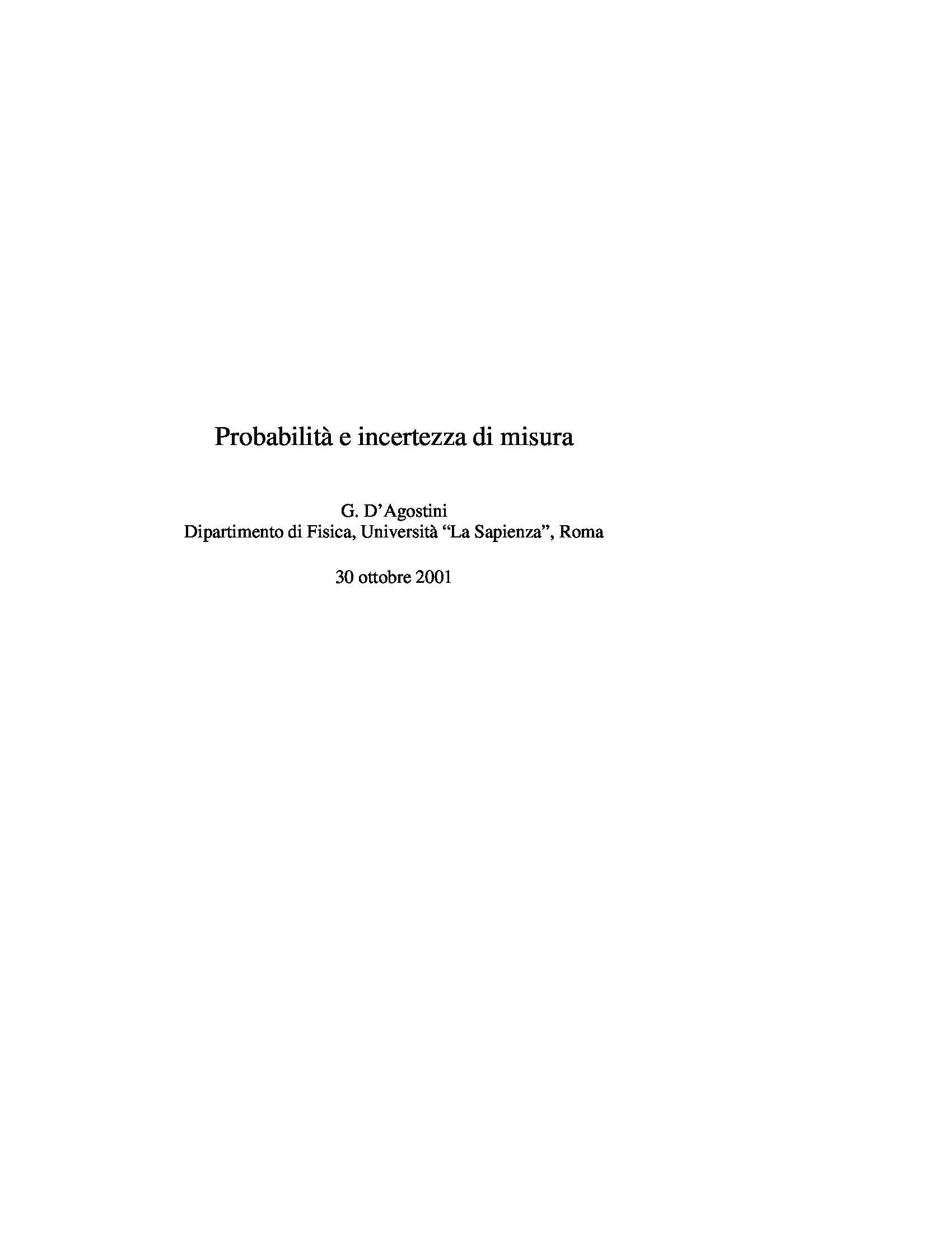 Dispensa di Fisica - Probabilità e incertezza di misura