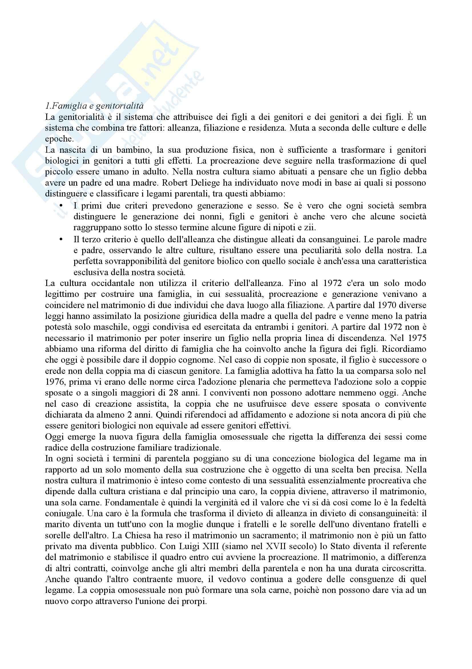 Riassunto esame Sociologia della famiglia, prof. Grasso, libro consigliato Genitori come gli altri, Cadoret