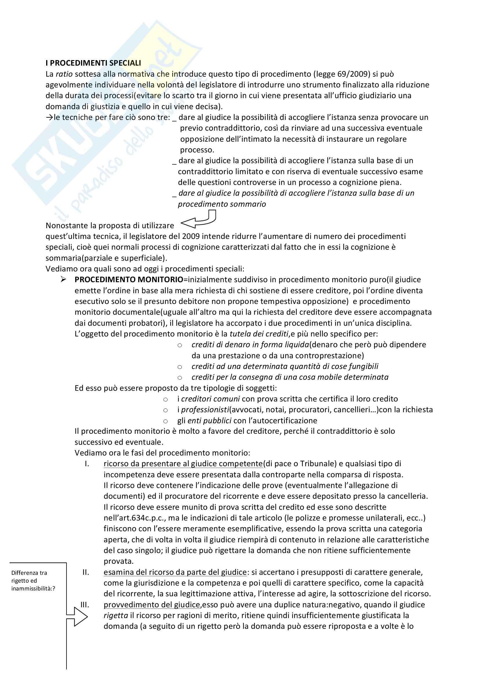 Riassunto esame Diritto processuale civile, prof. Vellani, libro consigliato Diritto processuale civile (i provvedimenti), Verde