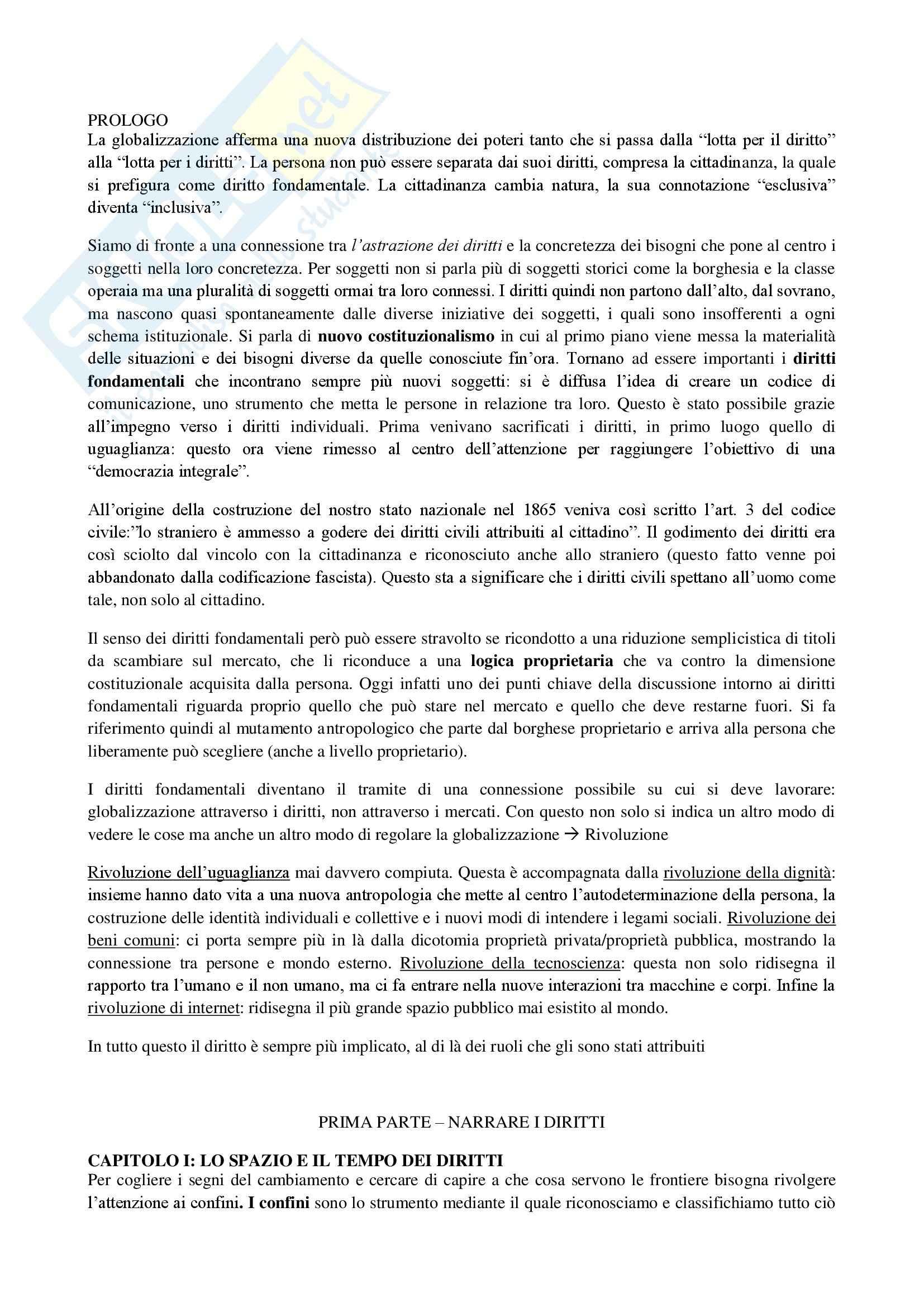 Riassunto esame diritto, prof. Messinetti, libro consigliato Il diritto di avere diritti, Rodotà