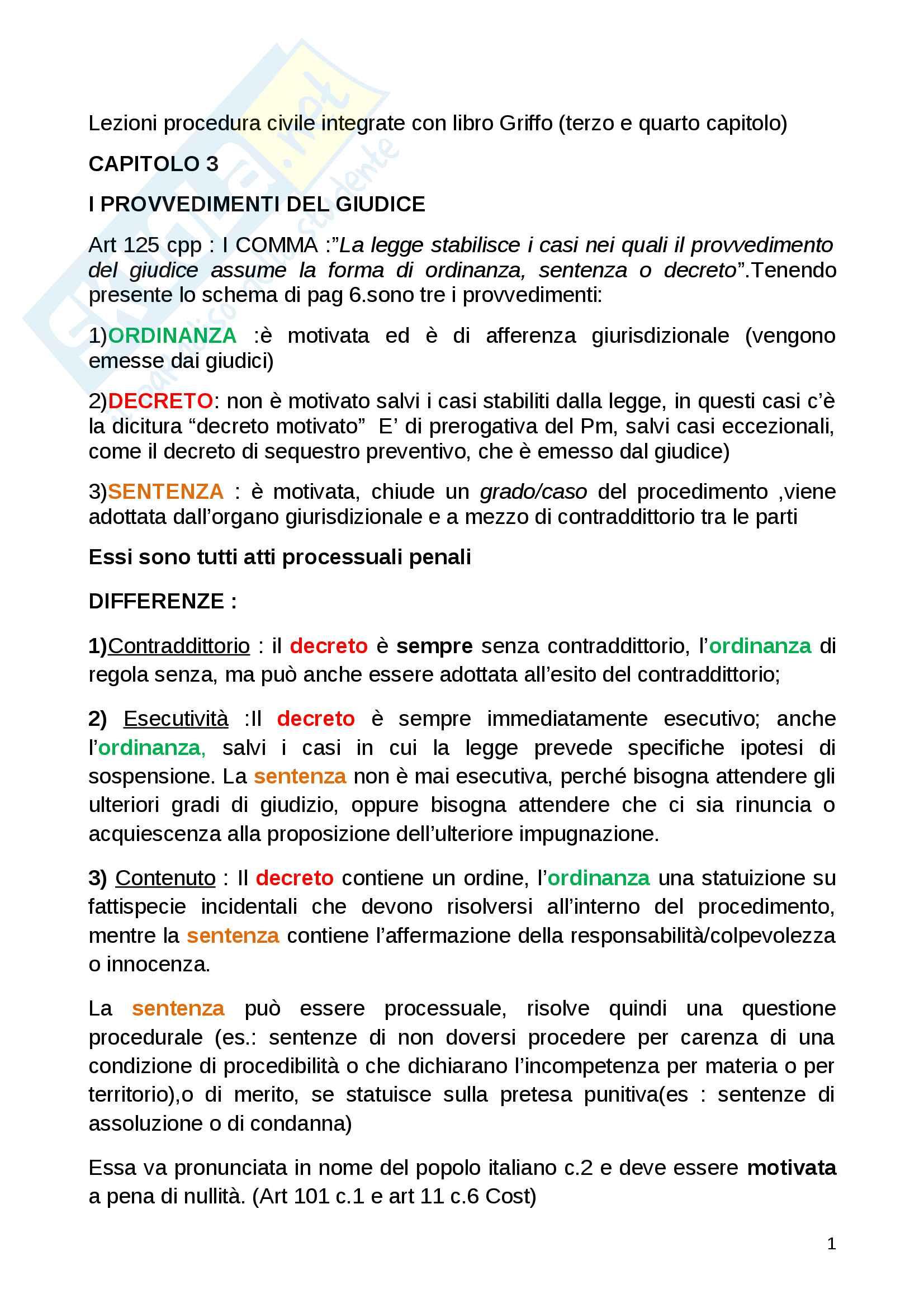 Provvedimenti giudice; invalidità; immediata declaratoria cause non punibilità; sanzioni - Appunti Procedura penale