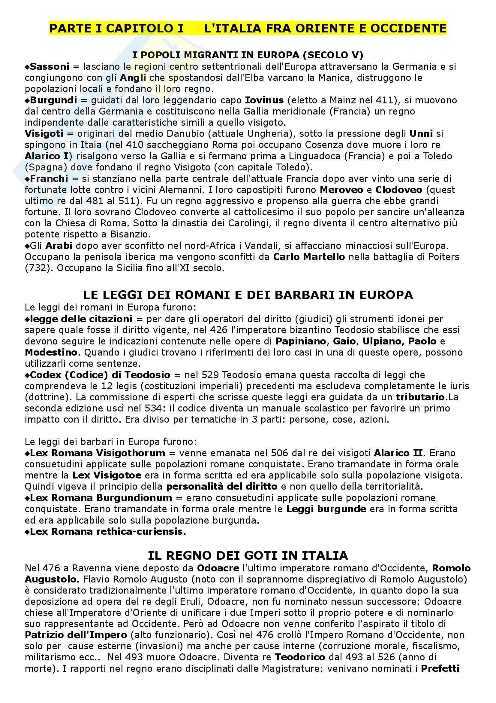 Riassunto esame Diritto Medievale, prof. Piergiovanni, libro consigliato Società e Diritto nell'Italia Medievale e Moderna, Bellomo