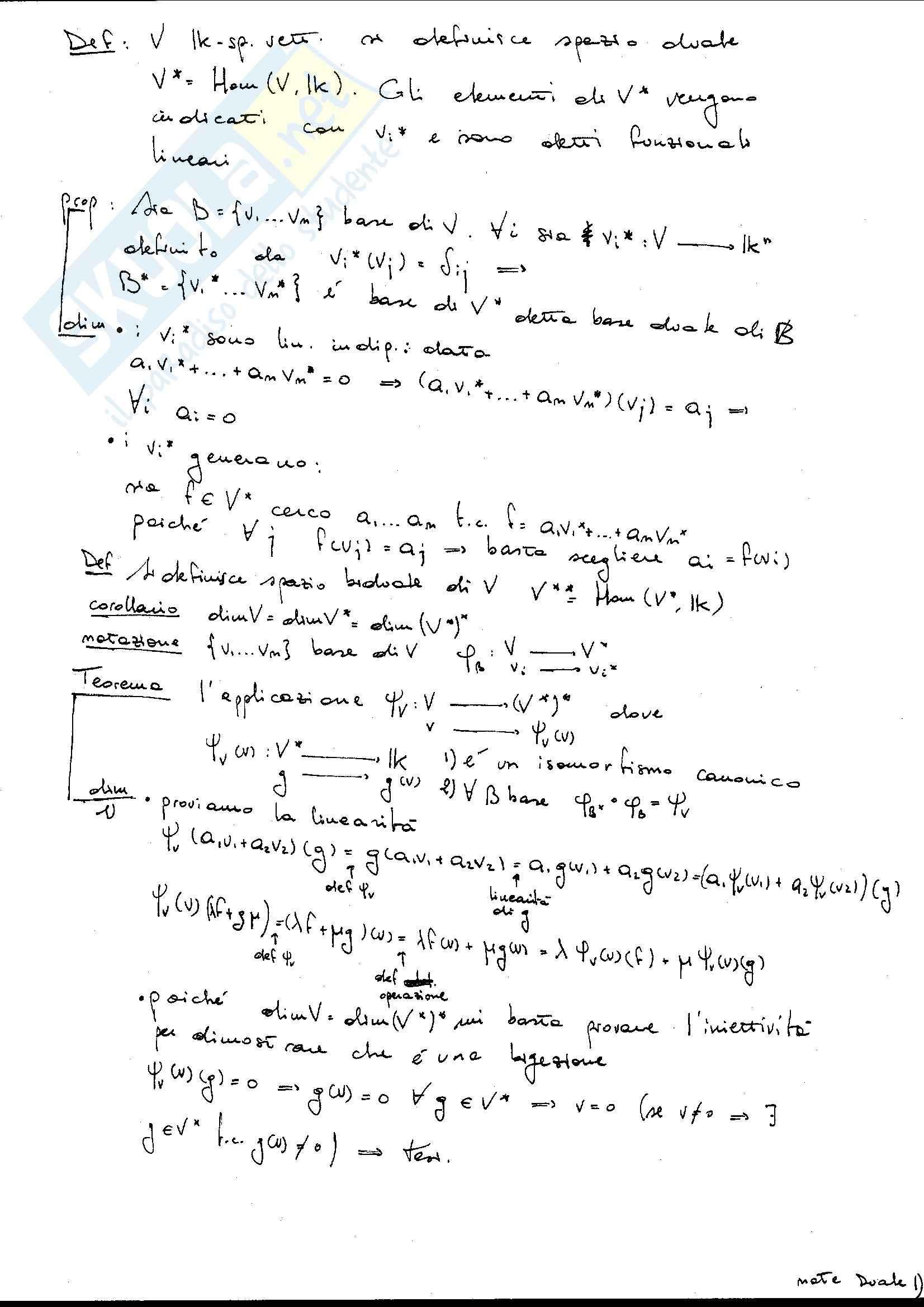 Spazio duale e biduale, Geometria analitica