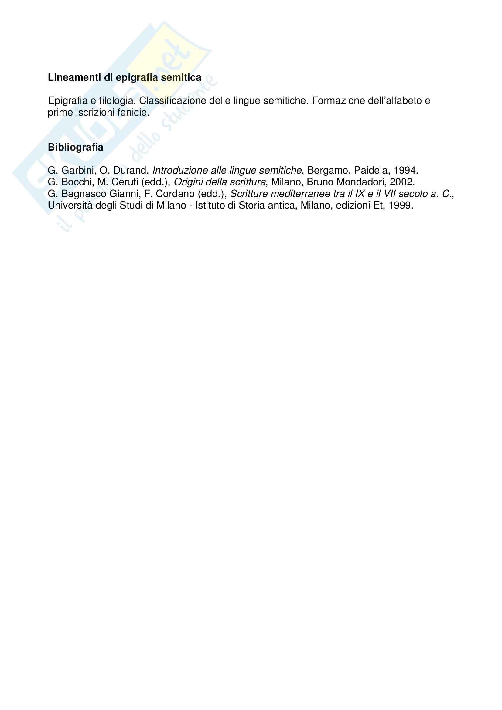 Lineamenti di epigrafia semitica