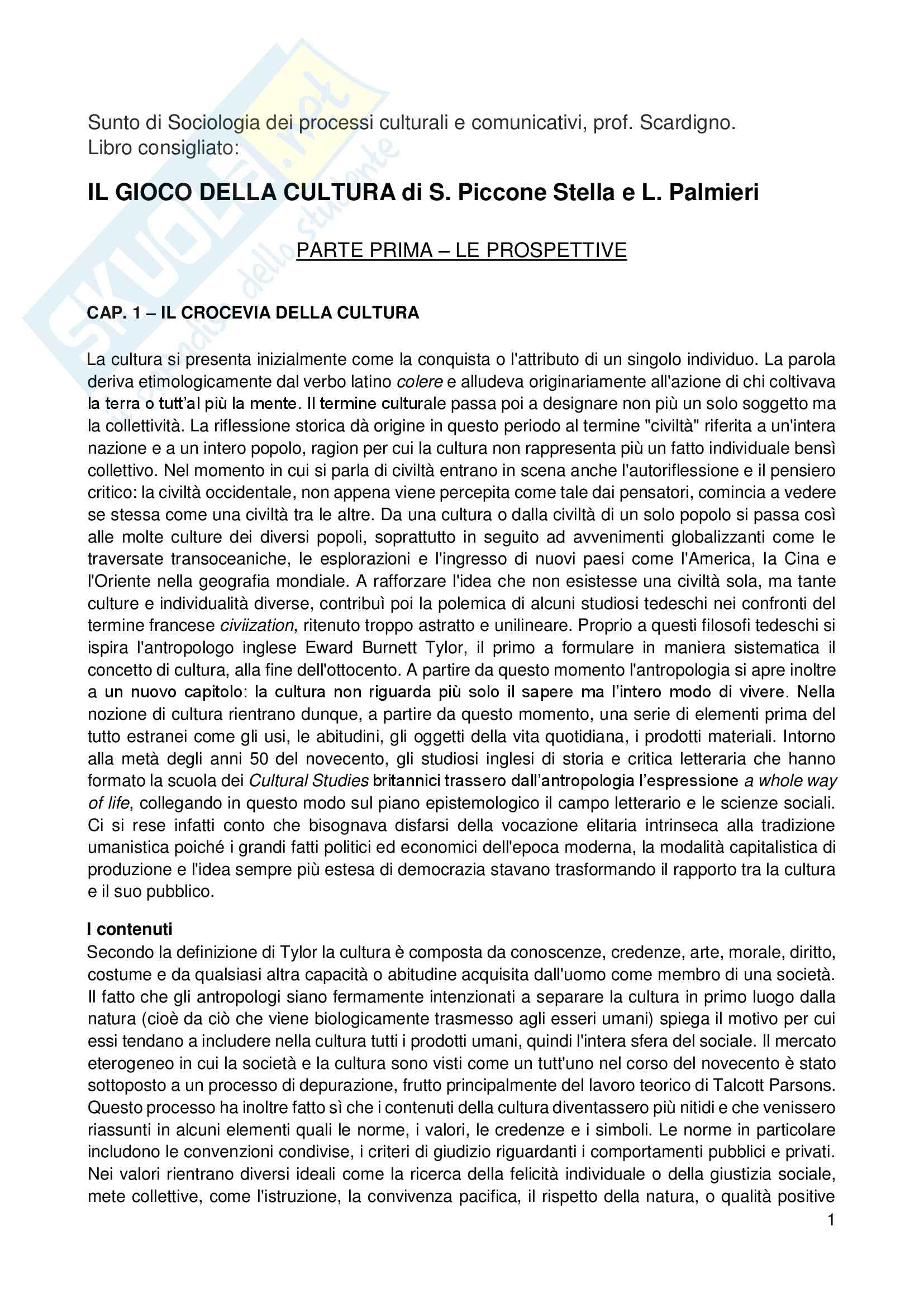 Riassunto esame Sociologia, prof. Scardigno, libro consigliato Il gioco della cultura: Attori, Processi, Prospettive di Piccone Stella, Salmieri