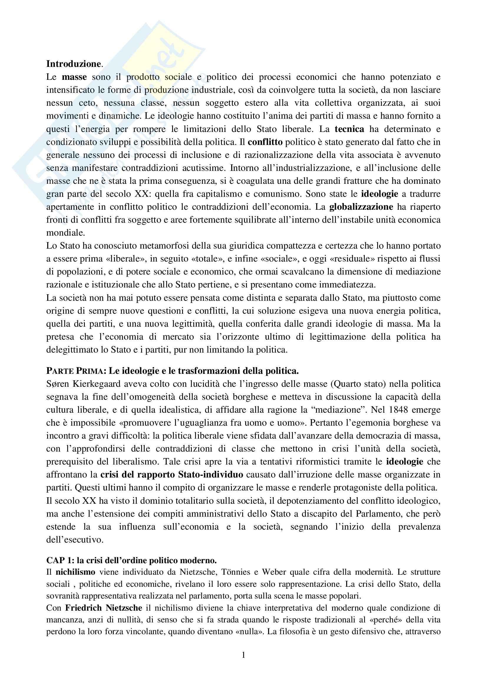 Riassunto esame Storia del pensiero politico contemporaneo, prof. Scuccimarra, libro consigliato Il Pensiero Politico Contemporaneo, Galli