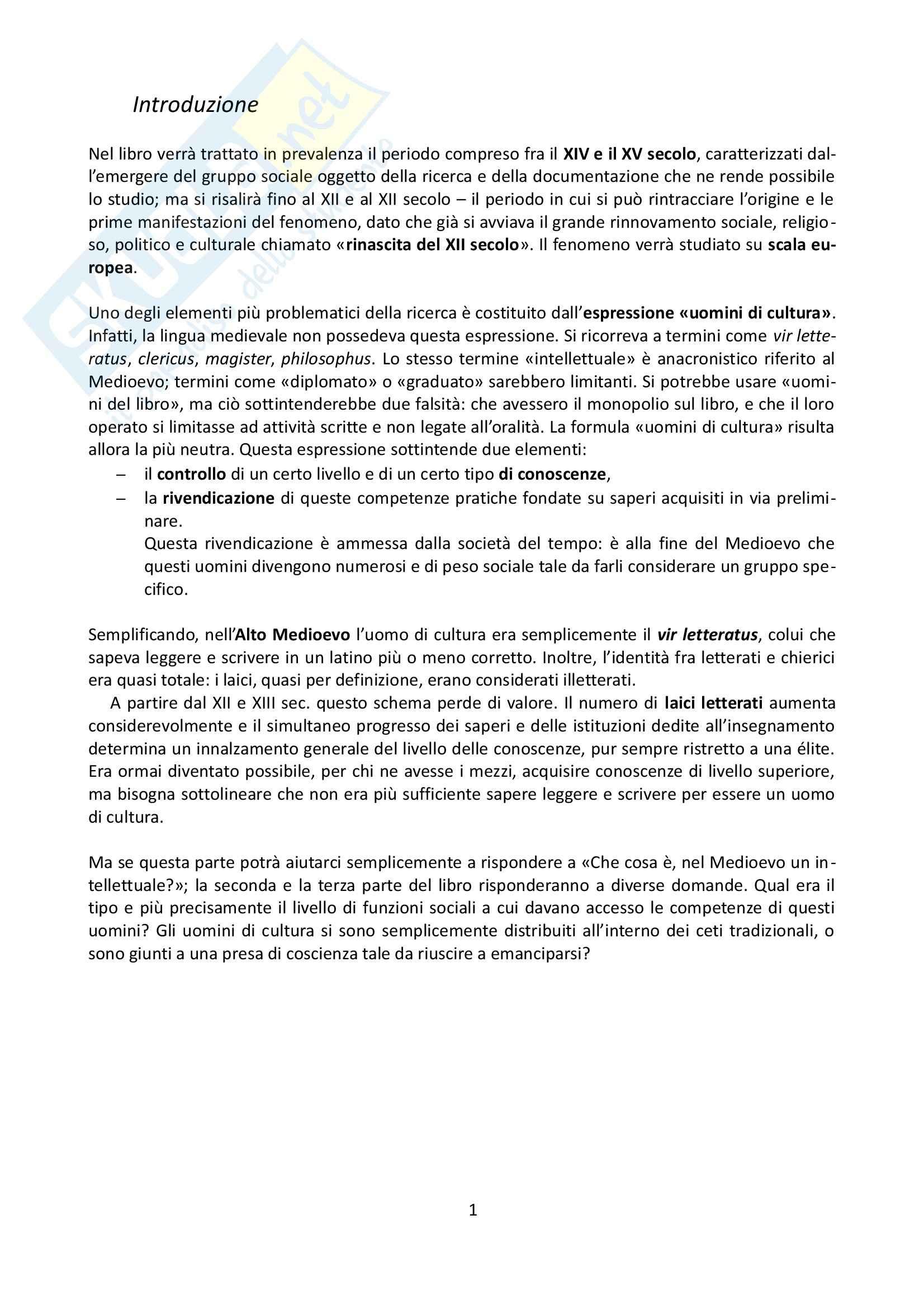 Riassunto esame Storia Medievale, prof. Grillo, libro consigliato Gli uomini di cultura nel Medioevo, Verger
