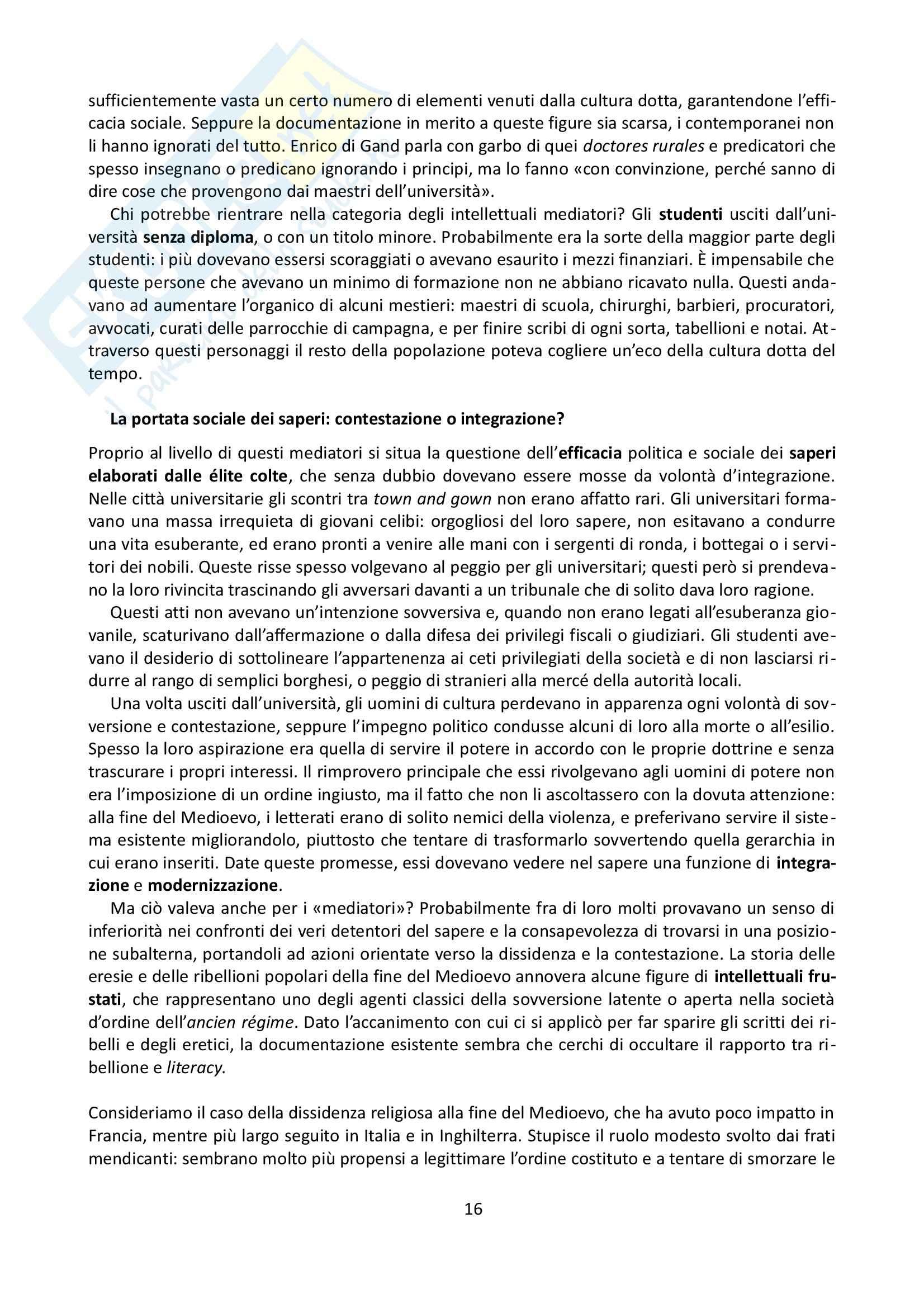 Riassunto esame Storia Medievale, prof. Grillo, libro consigliato Gli uomini di cultura nel Medioevo, Verger Pag. 16