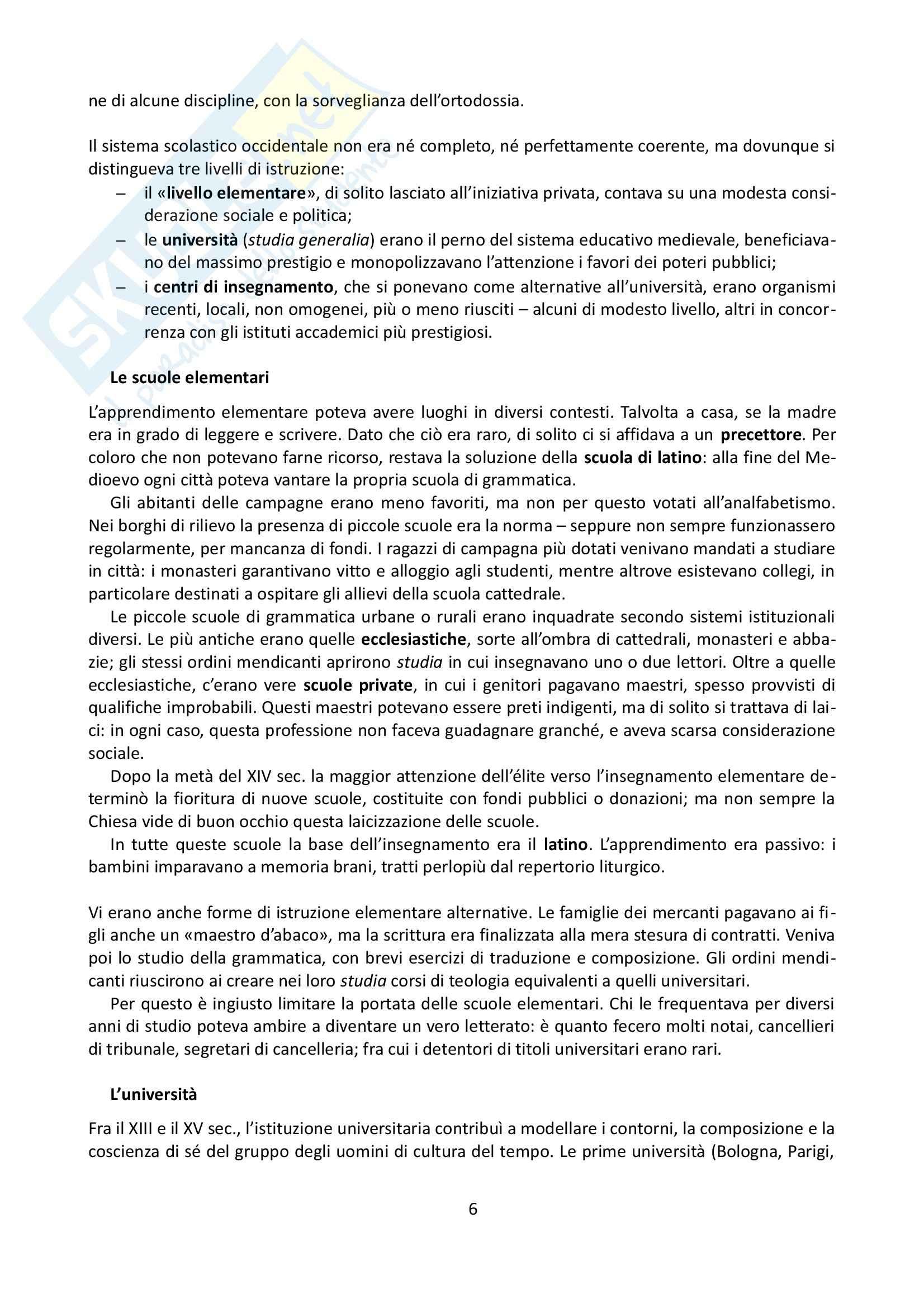Riassunto esame Storia Medievale, prof. Grillo, libro consigliato Gli uomini di cultura nel Medioevo, Verger Pag. 6