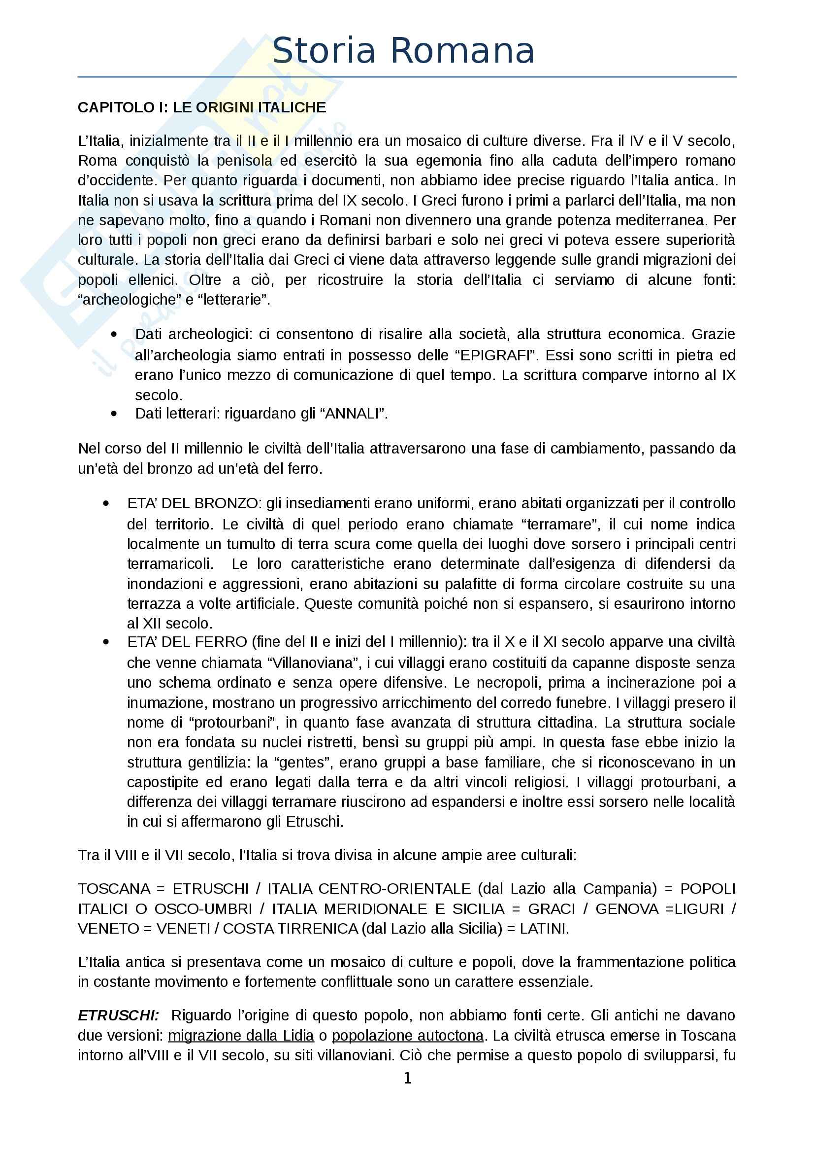 Riassunto esame Storia Romana, prof. Franchina, libro consigliato Guida alla Storia Romana di Clemente